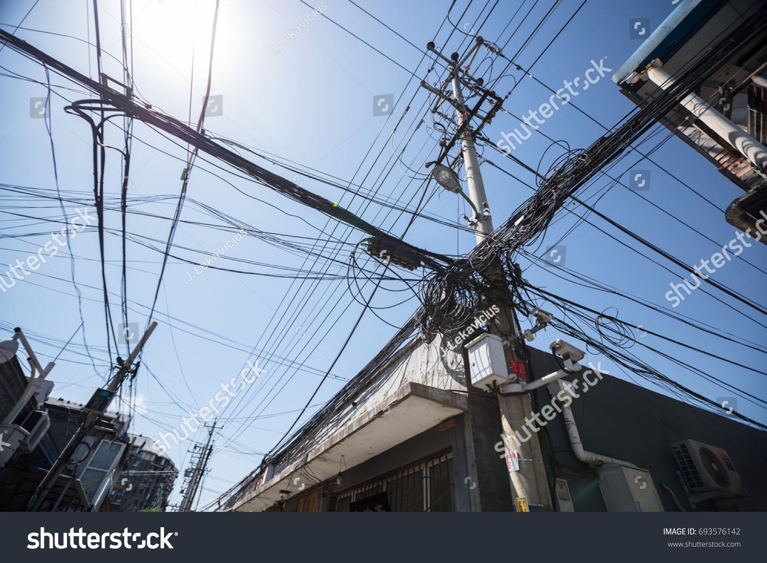 Chaos Cables Wires On Street Shanghai Stock Photo (Download Now ...