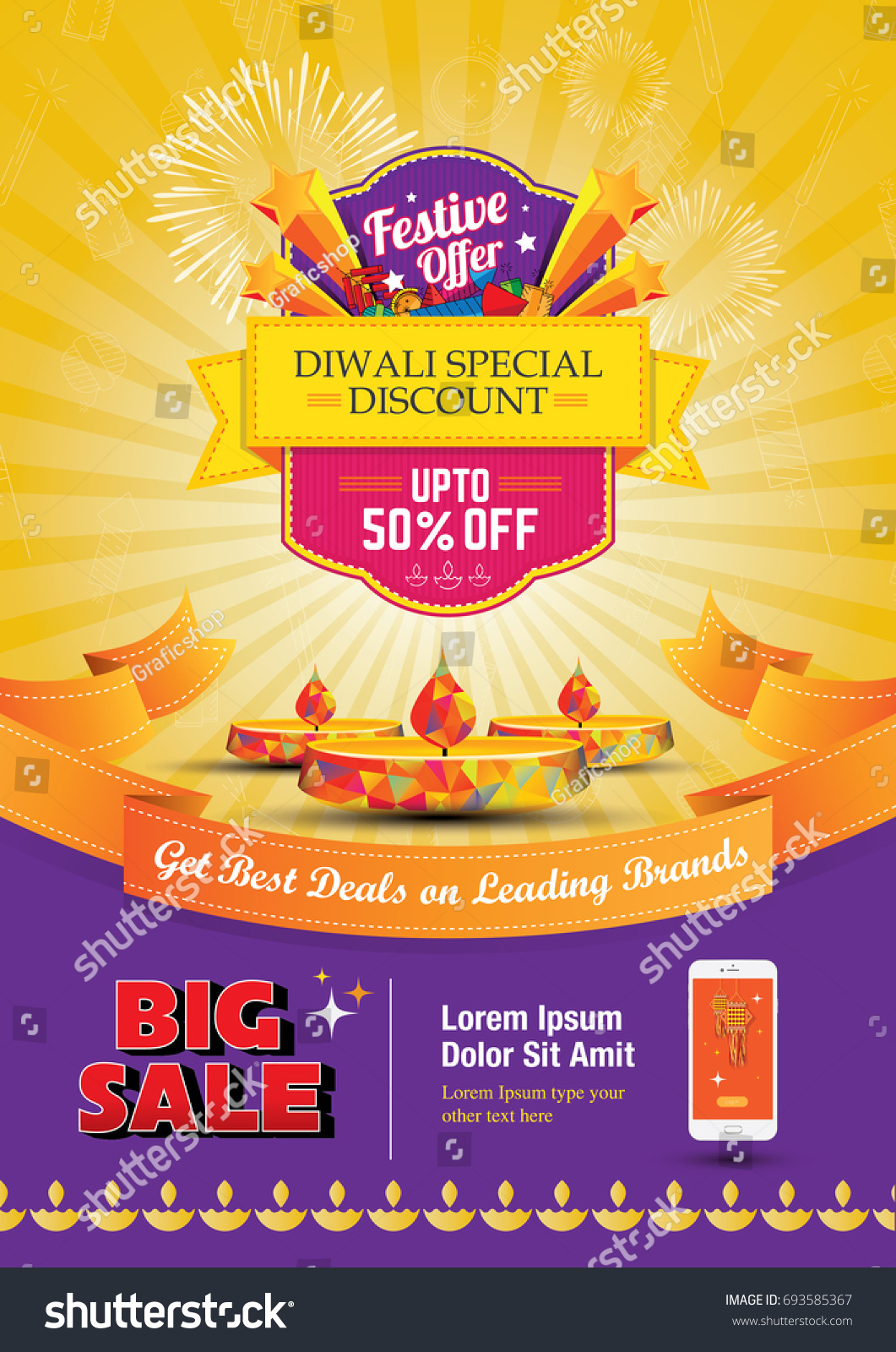 Diwali Festival Sale Poster Flyer Layout Template a4 Size  #693585367