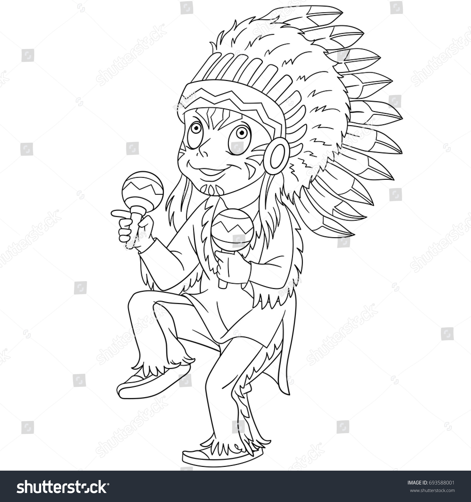 coloring page of cartoon native american indian chief coloring book design for kids and children - Native American Coloring Book