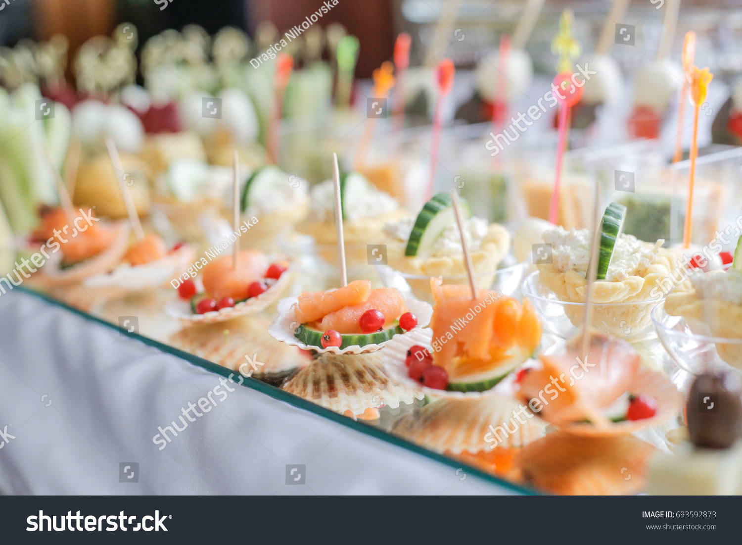 Different canapes smoked salmon cucumber red stock photo for Canape pastry shells