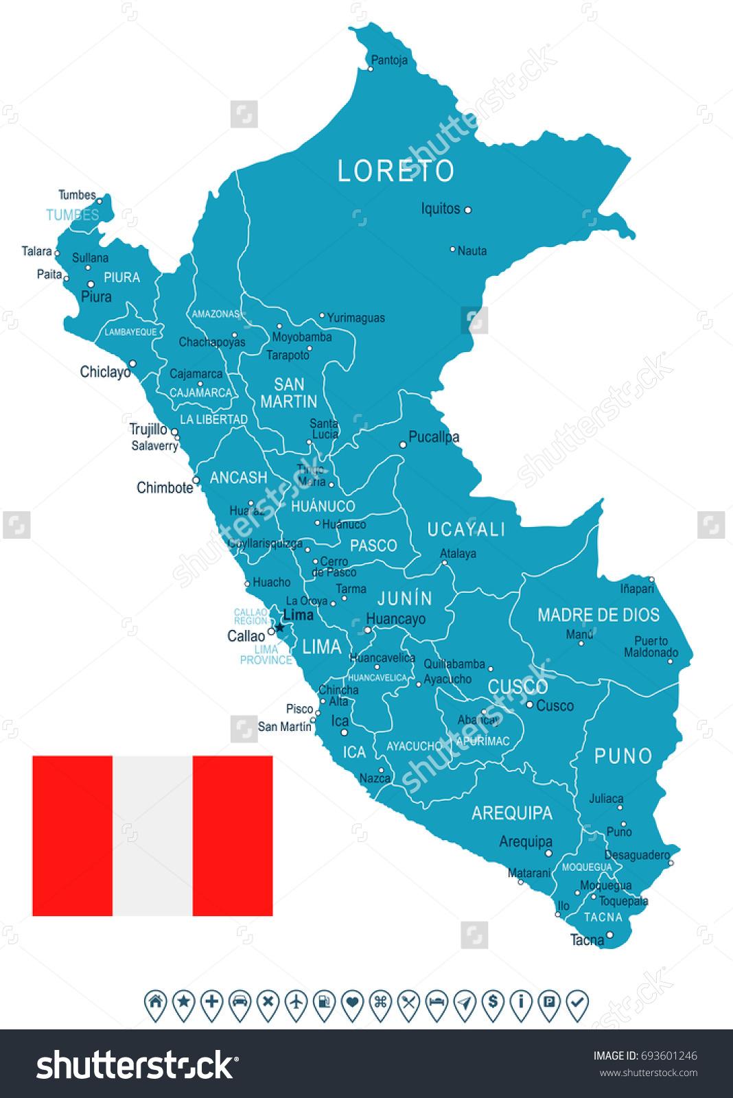 Peru Map Flag Vector Illustration Stock Vector 693601246 Shutterstock