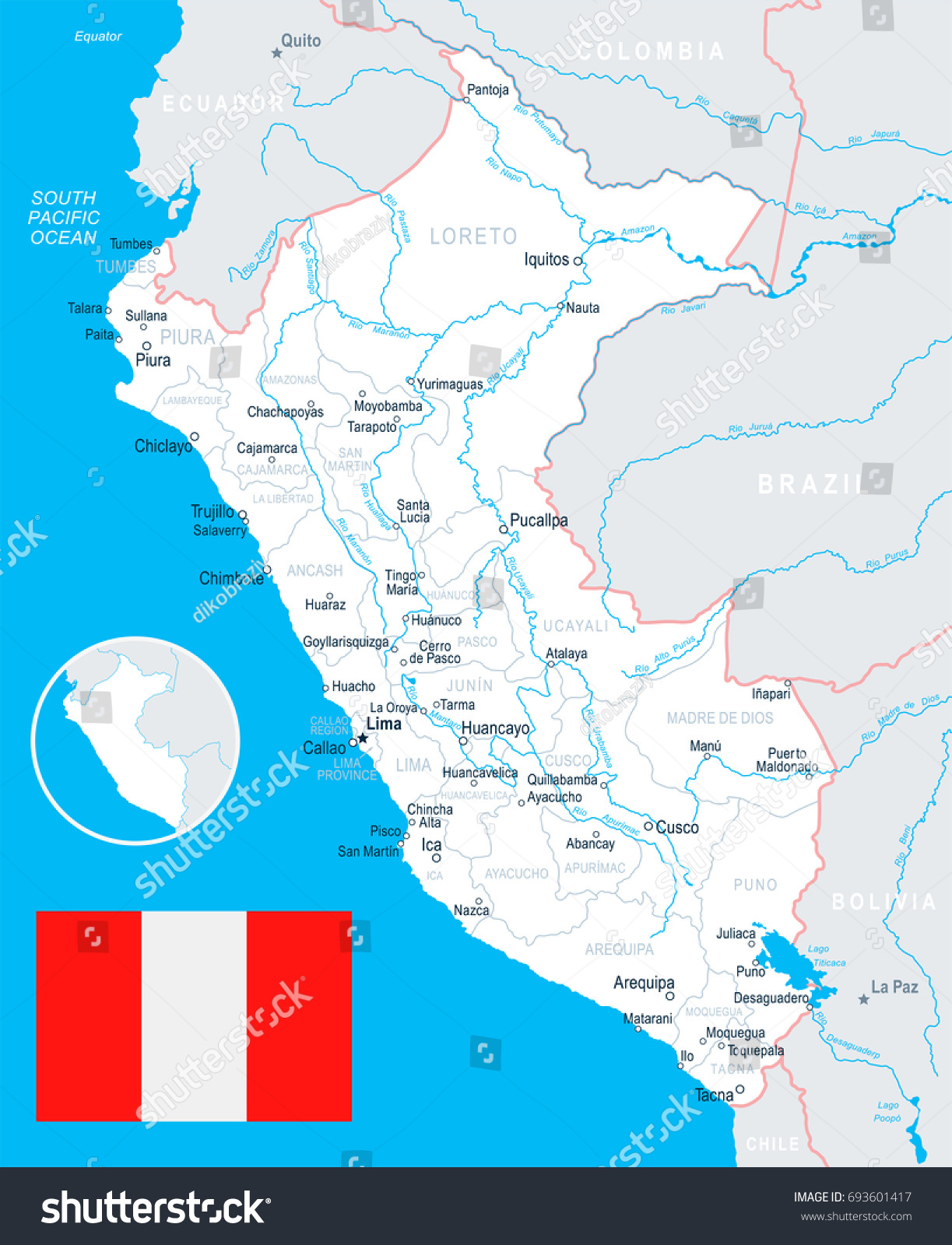 Peru Map Flag Vector Illustration Stock Vector 693601417 Shutterstock