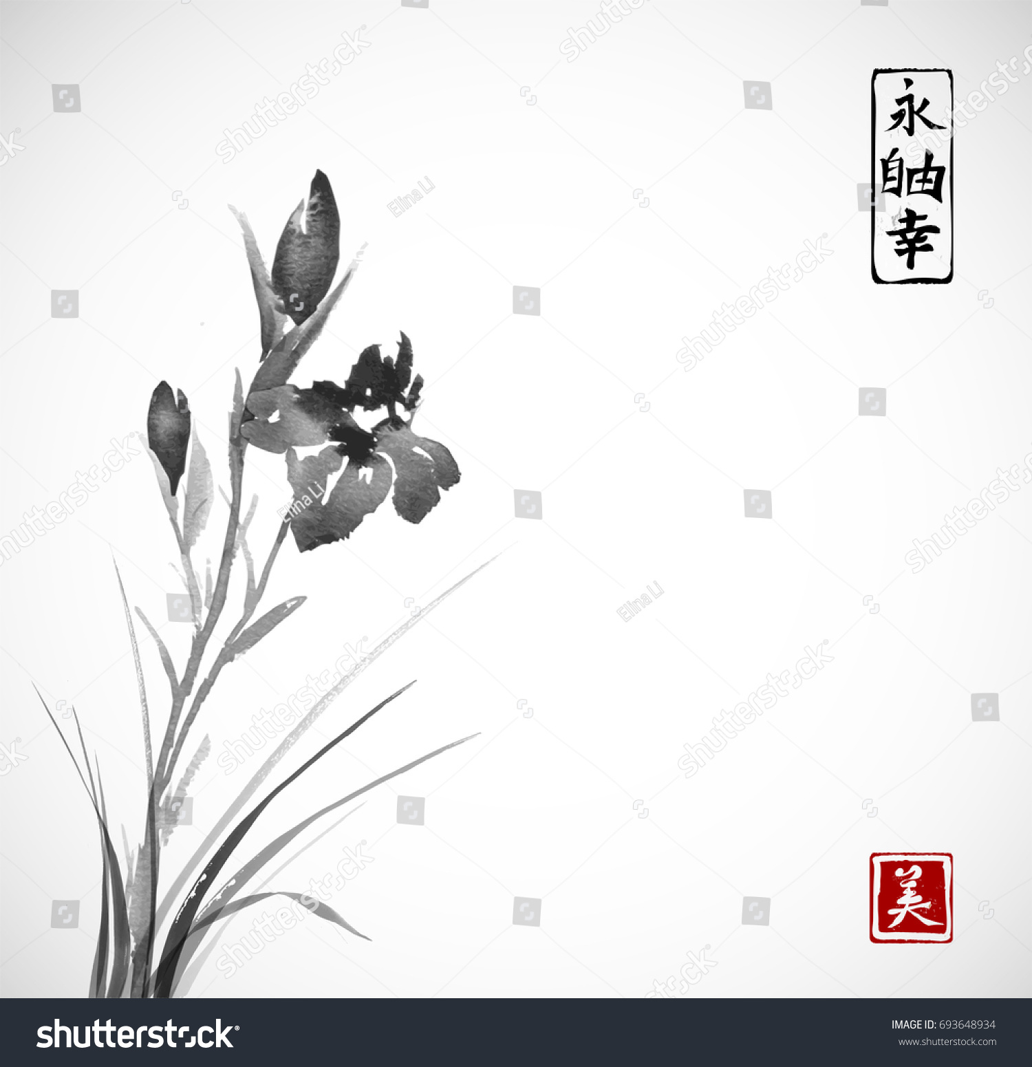 Black iris flowers hand drawn ink stock vector royalty free black iris flowers hand drawn with ink in asian style on white background traditional oriental izmirmasajfo