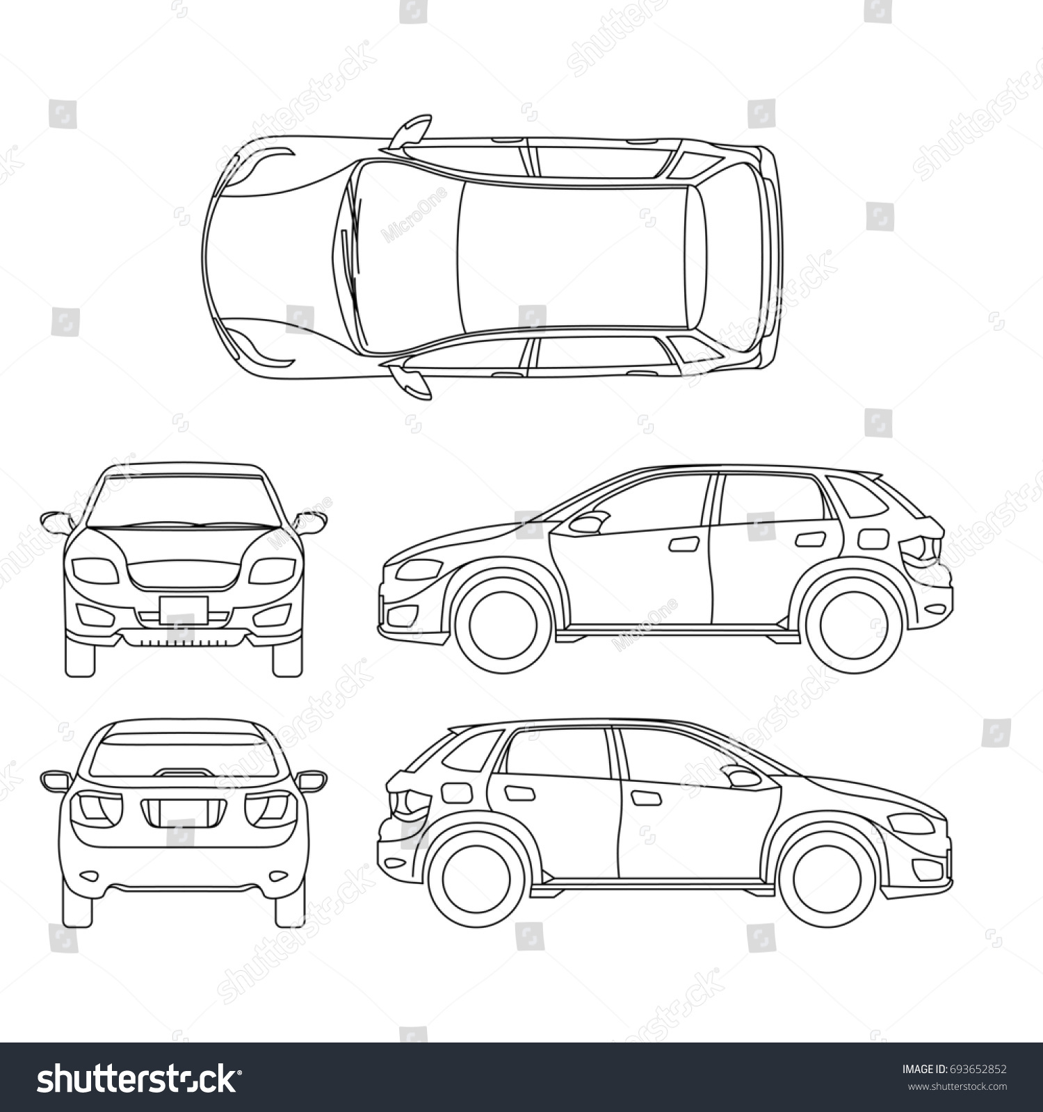 Offroad Suv Auto Outline Vehicle Car Stock Illustration 693652852 ...