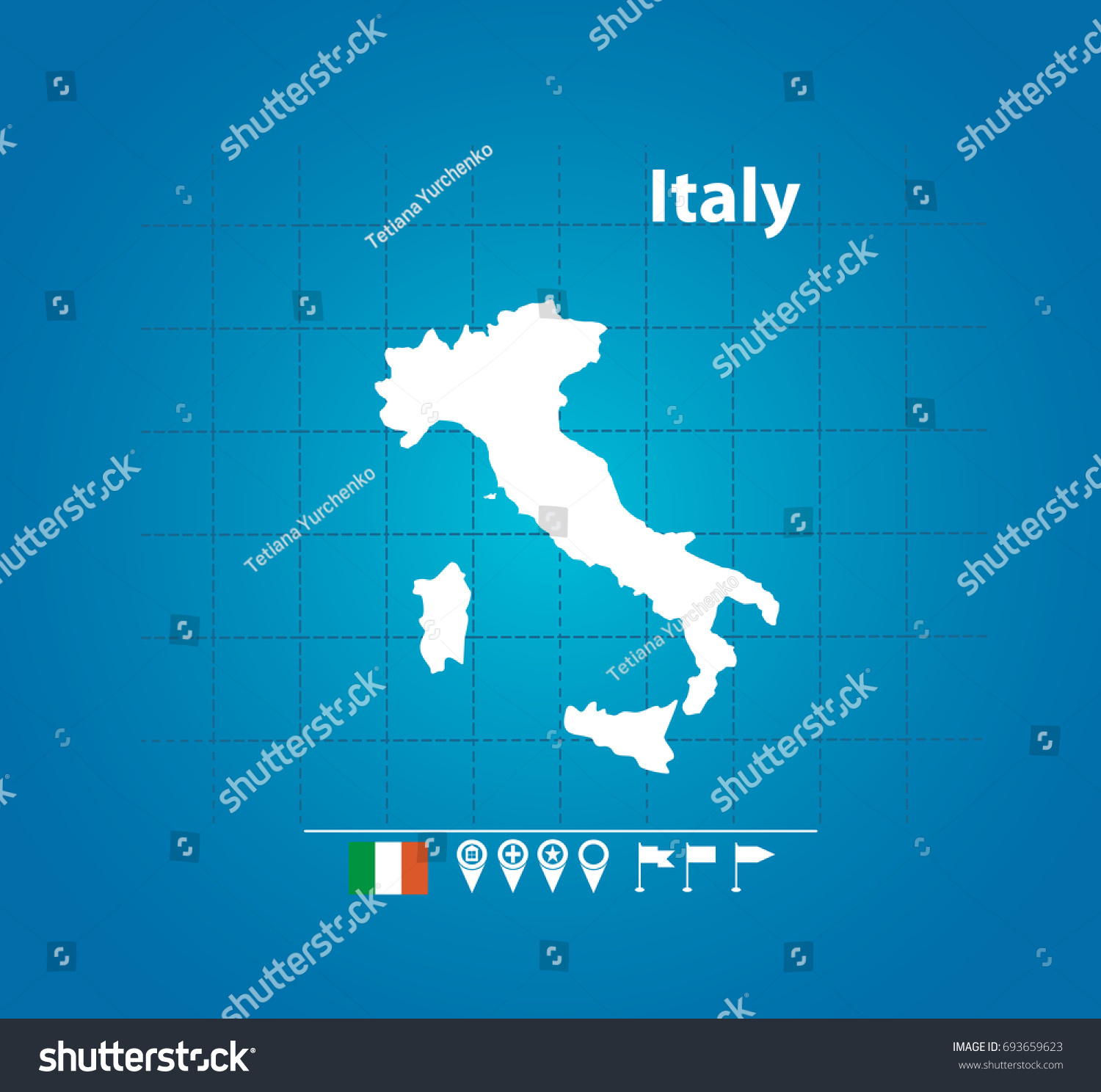 Detailed Vector Map Italy Name Country Stock Vector 693659623