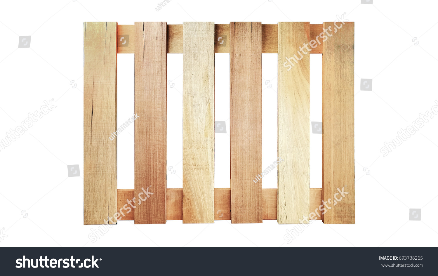 Isolated Wood Pallet On White Background In Top View
