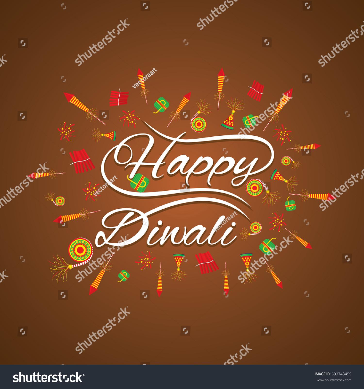 Happy Diwali Greeting Card Fire Cracker Stock Vector Royalty Free
