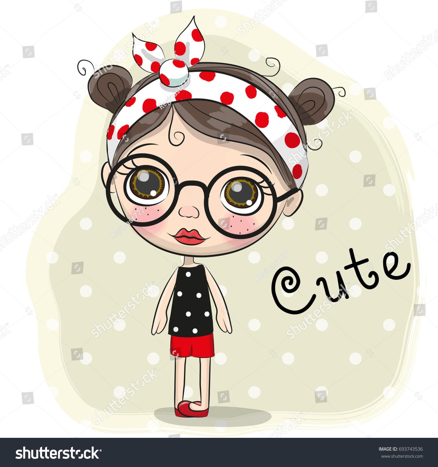 cute cartoon girl big glasses stock vector hd (royalty free