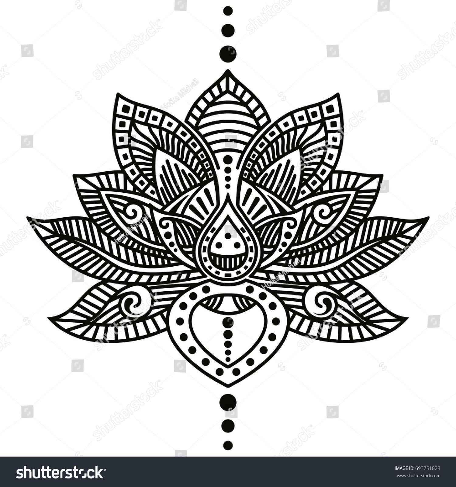 Vector image lotus flower tattoo isolated stock vector royalty free vector image of lotus flower tattoo isolated on white background izmirmasajfo