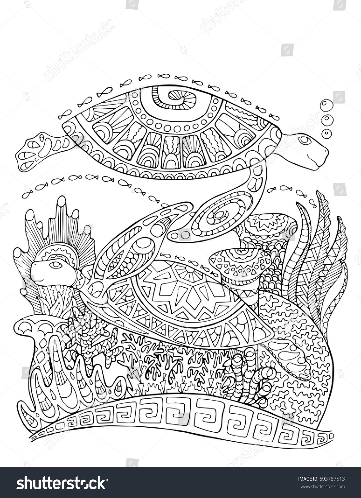 Sea Turtle Doodle Style Coloring Page Stock Vector (Royalty Free ...