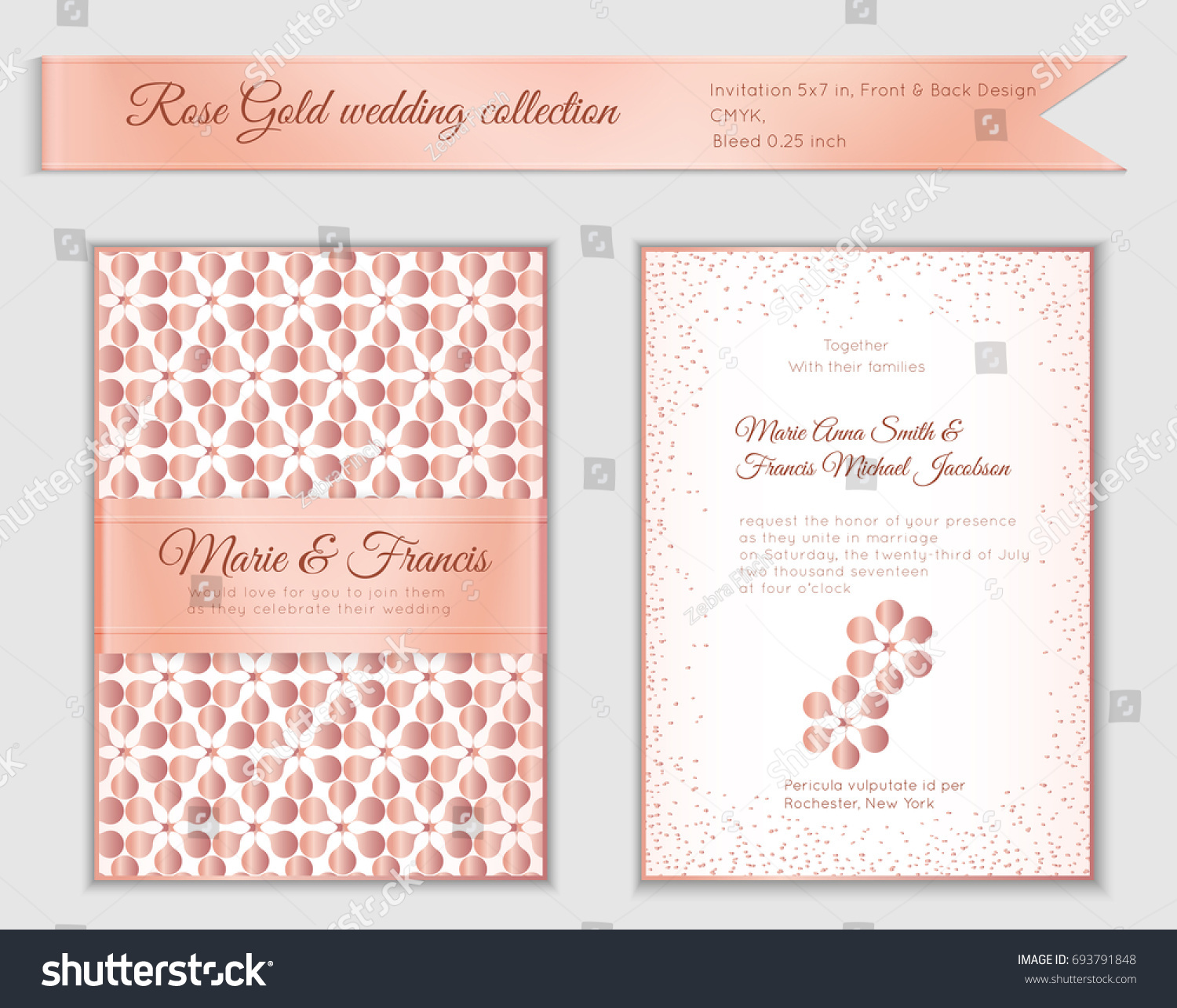 Luxury Wedding Invitation Template Rose Gold Stock Vector HD ...