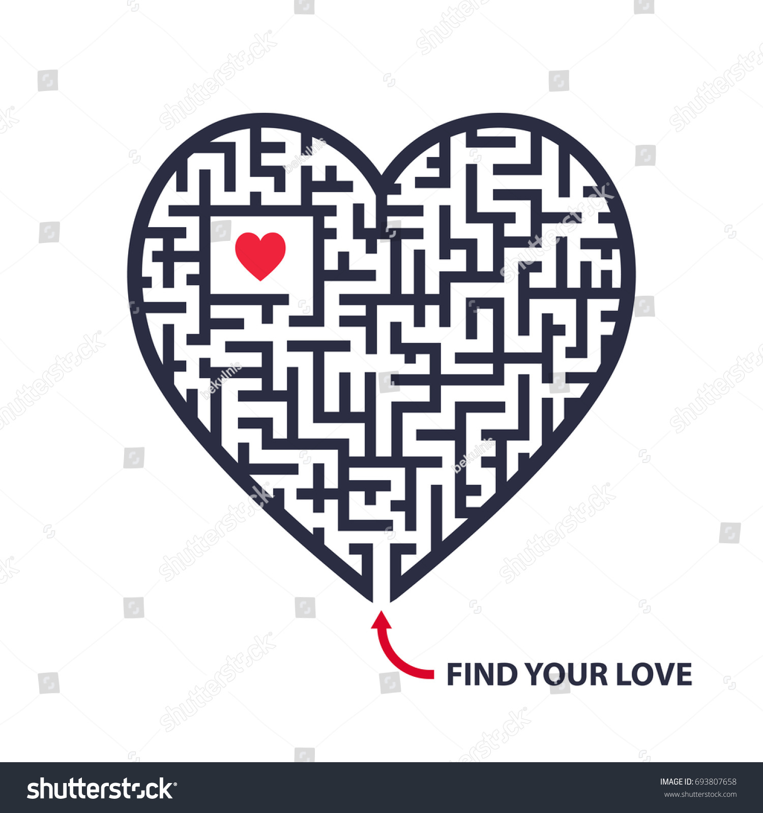 Isolated vector maze illustration black maze stock vector 693807658 isolated vector maze illustration black maze shaped as heart with little red heart inside and buycottarizona Images