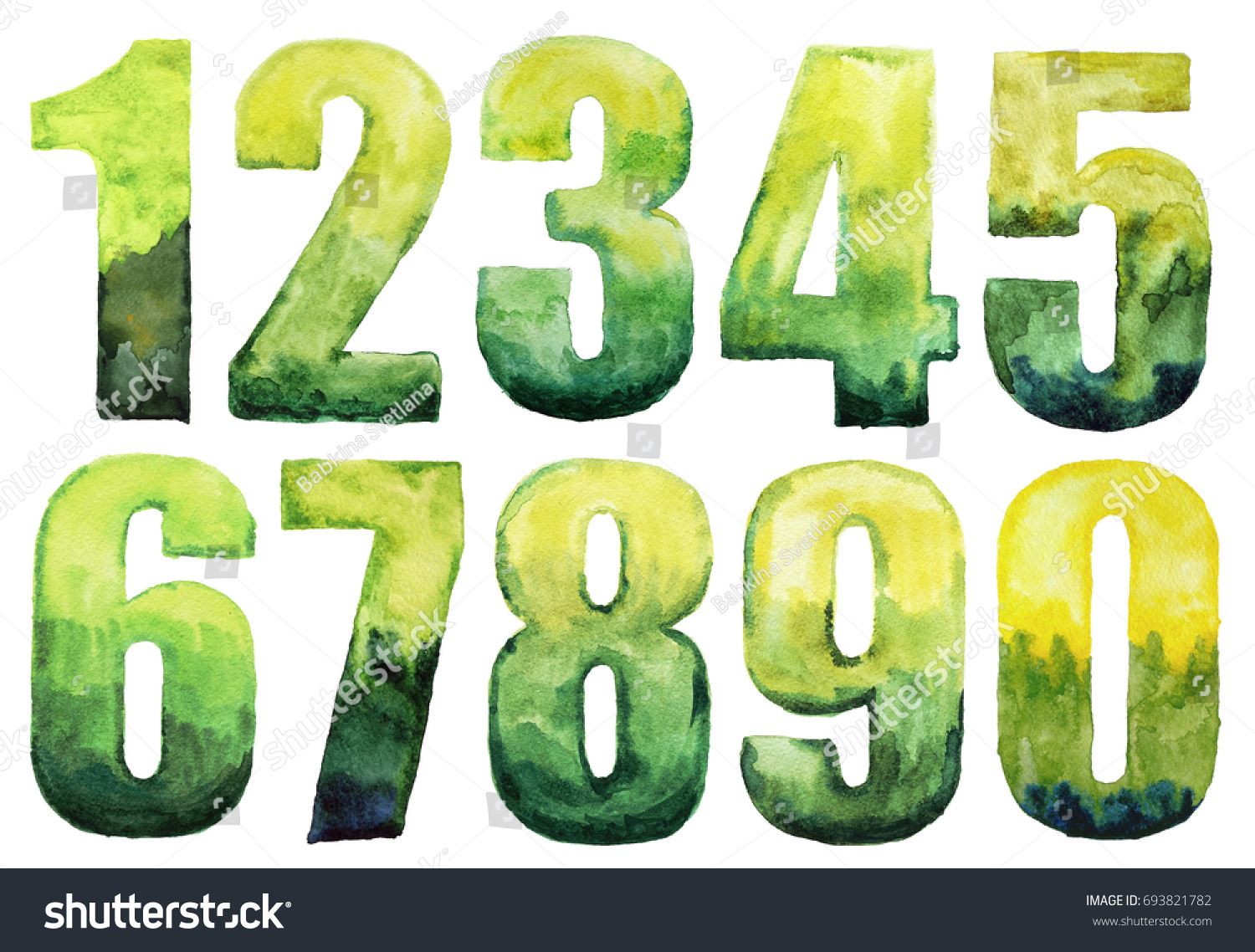 Watercolor Numbers Green Color Isolated On Stock Illustration ...
