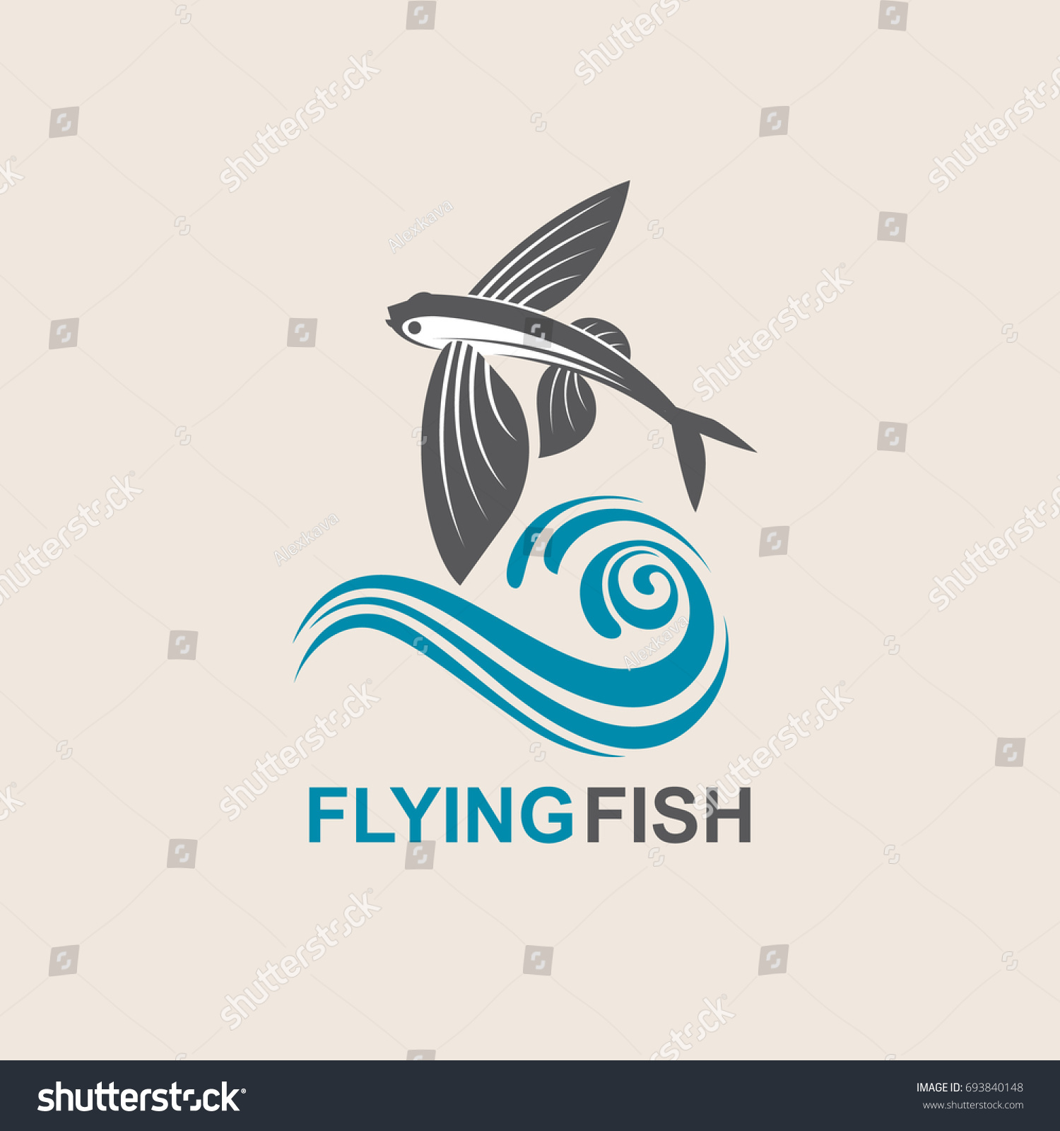 Icon Flying Fish Waves Stock Vector Royalty Free 693840148