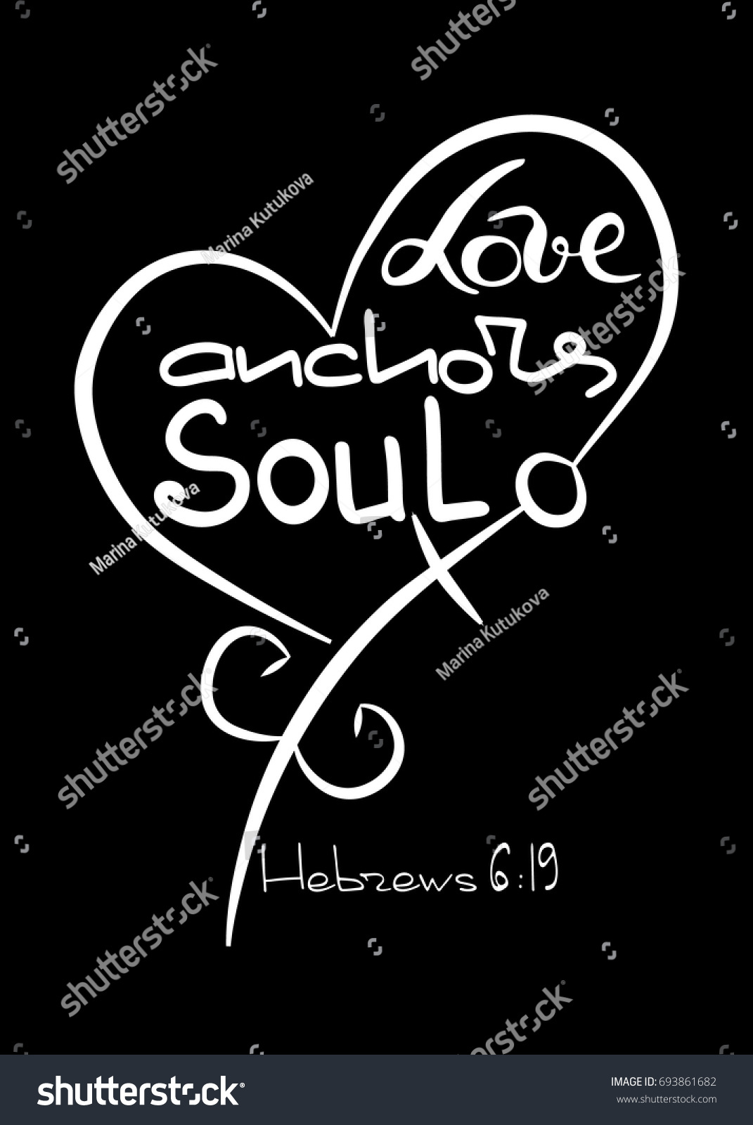 Love Anchors Soul Bible Lettering Anchor Stock Vector Royalty Free