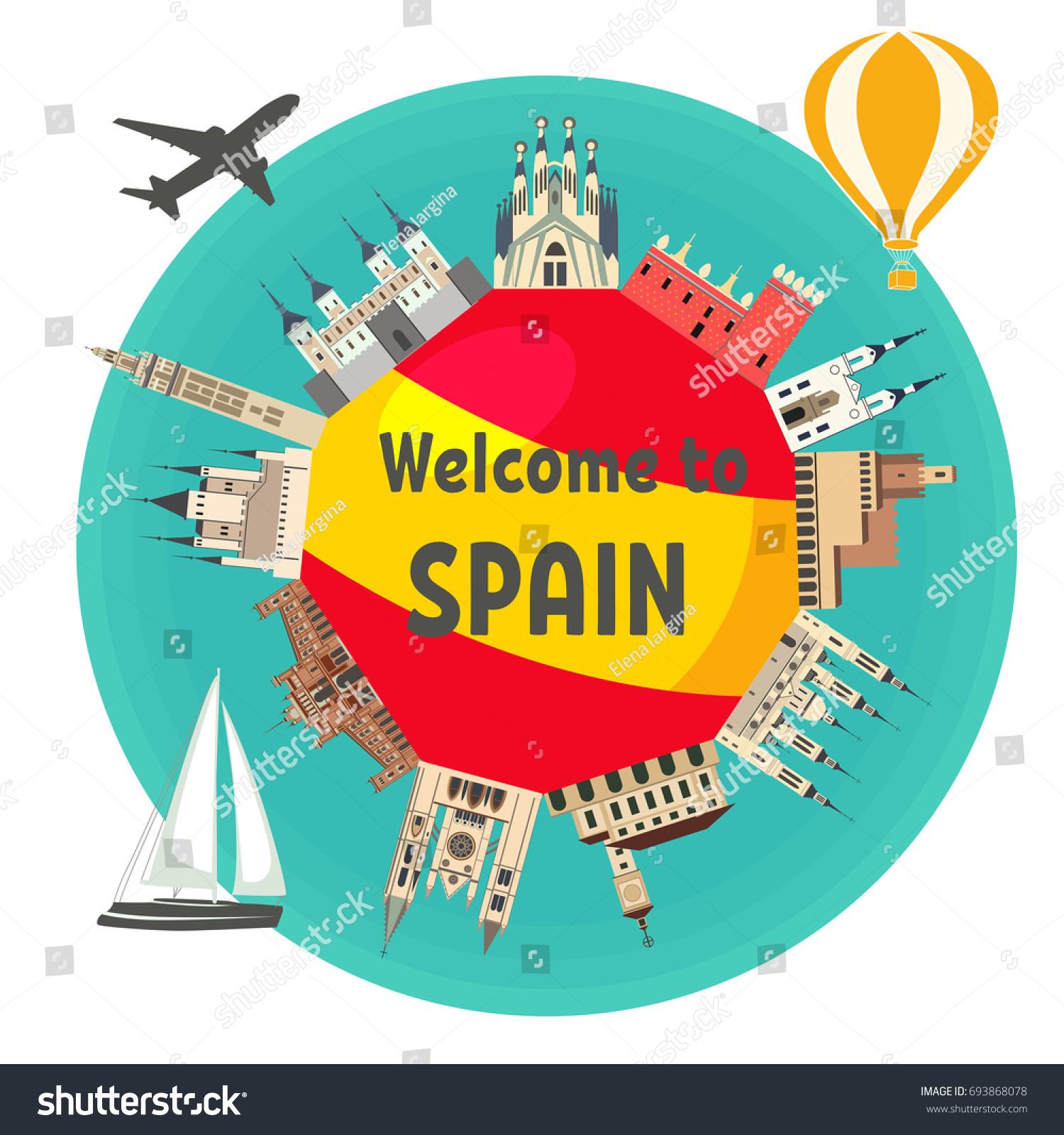 spanish famous landmarks around flag spain stock vector 693868078