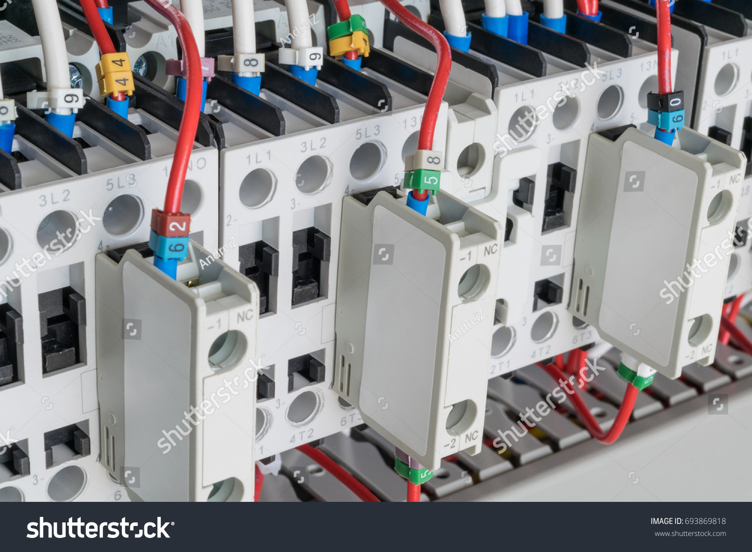 Several Contactors Arranged Row Electrical Closet Stock Photo Edit Electric Contactor Wiring In A An The Connected Wire Number