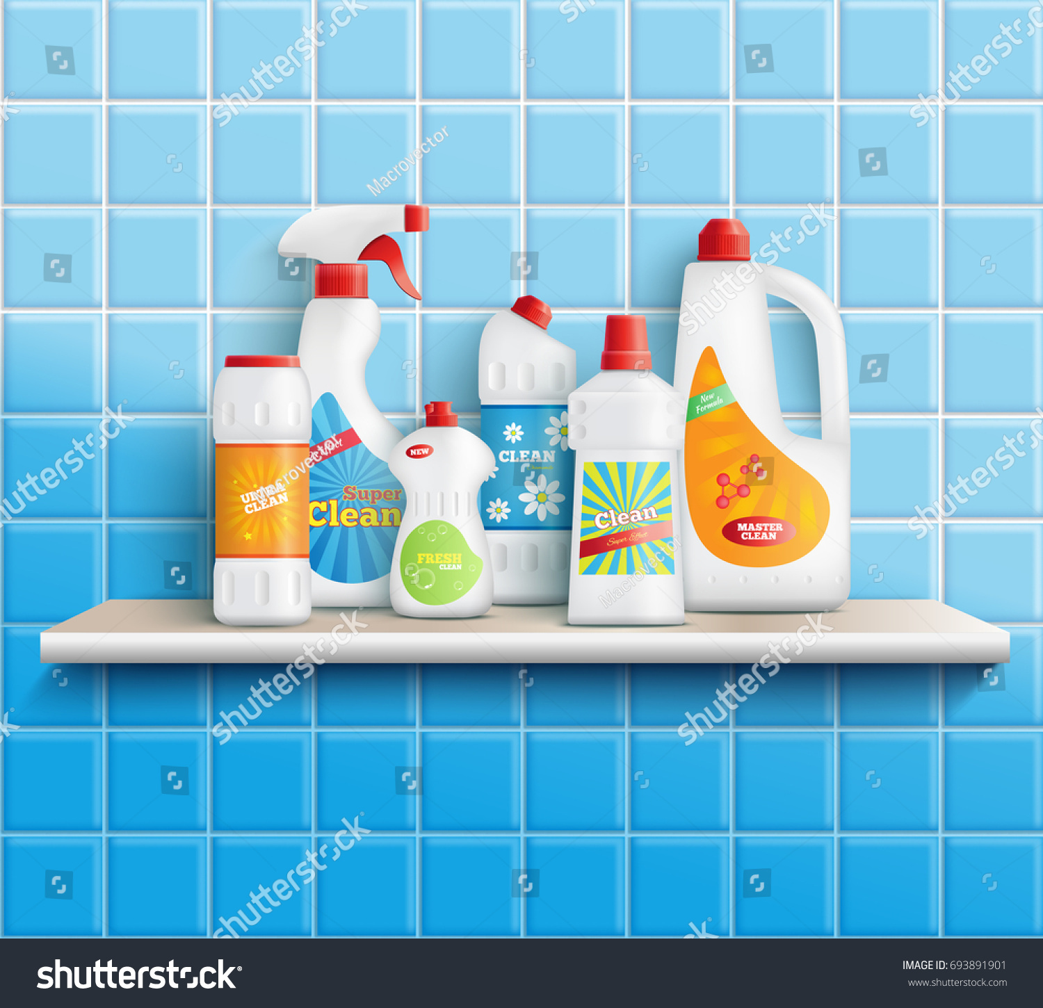 Composition Realistic Detergent Bottles On Shelf Stock Vector ...