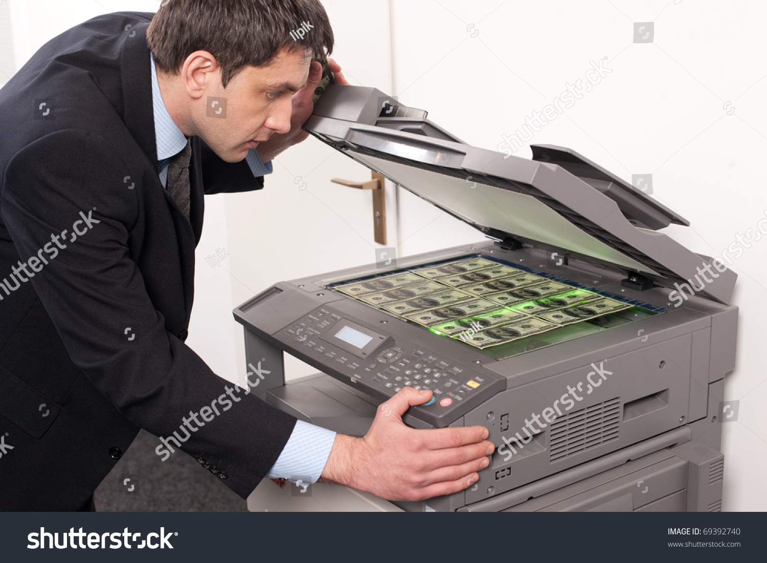 Businessman Make False Money On Copy Stock Photo 69392740 ...