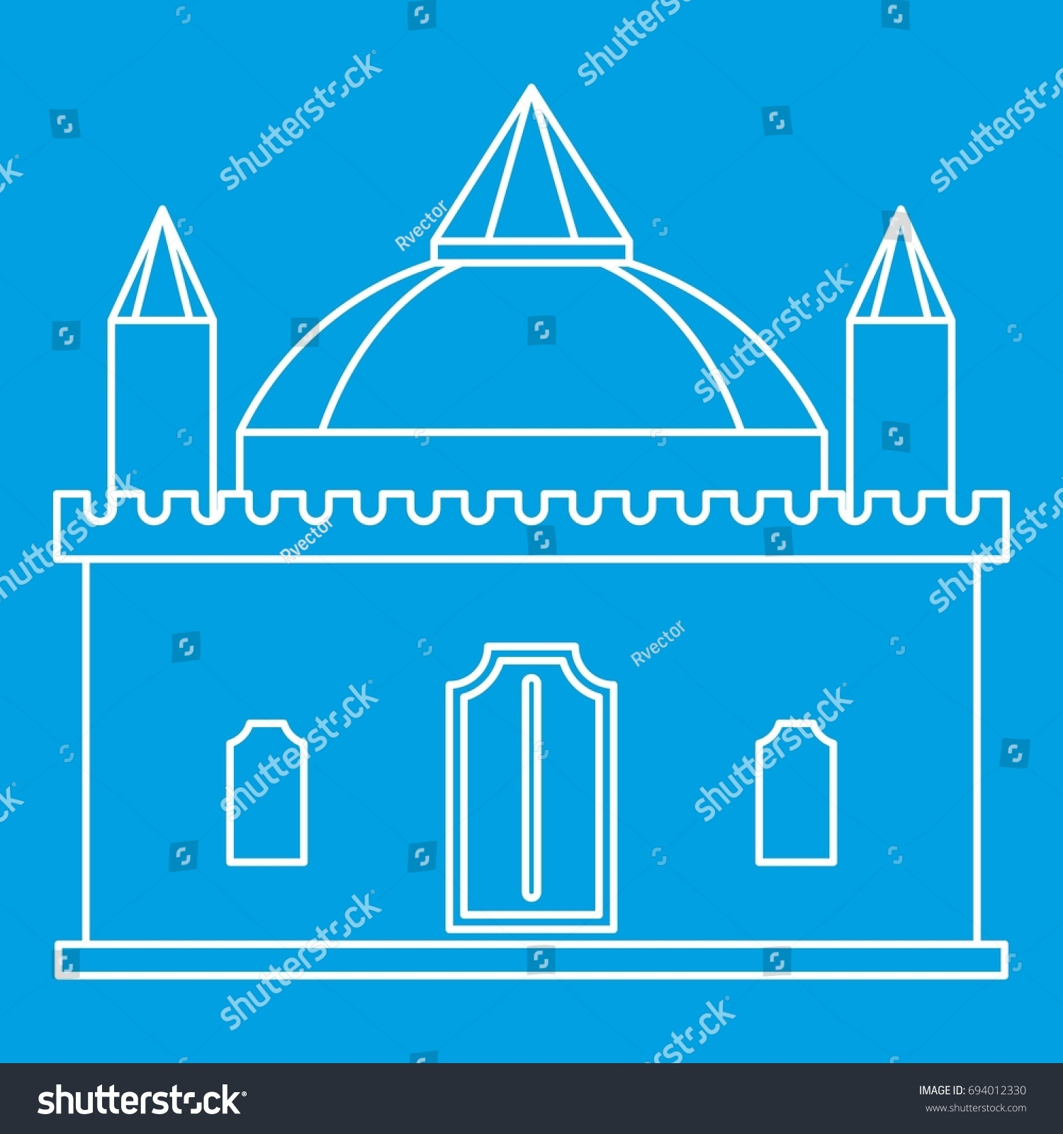 Medieval Palace Icon Blue Outline Style Stock Vector 694012330 ...