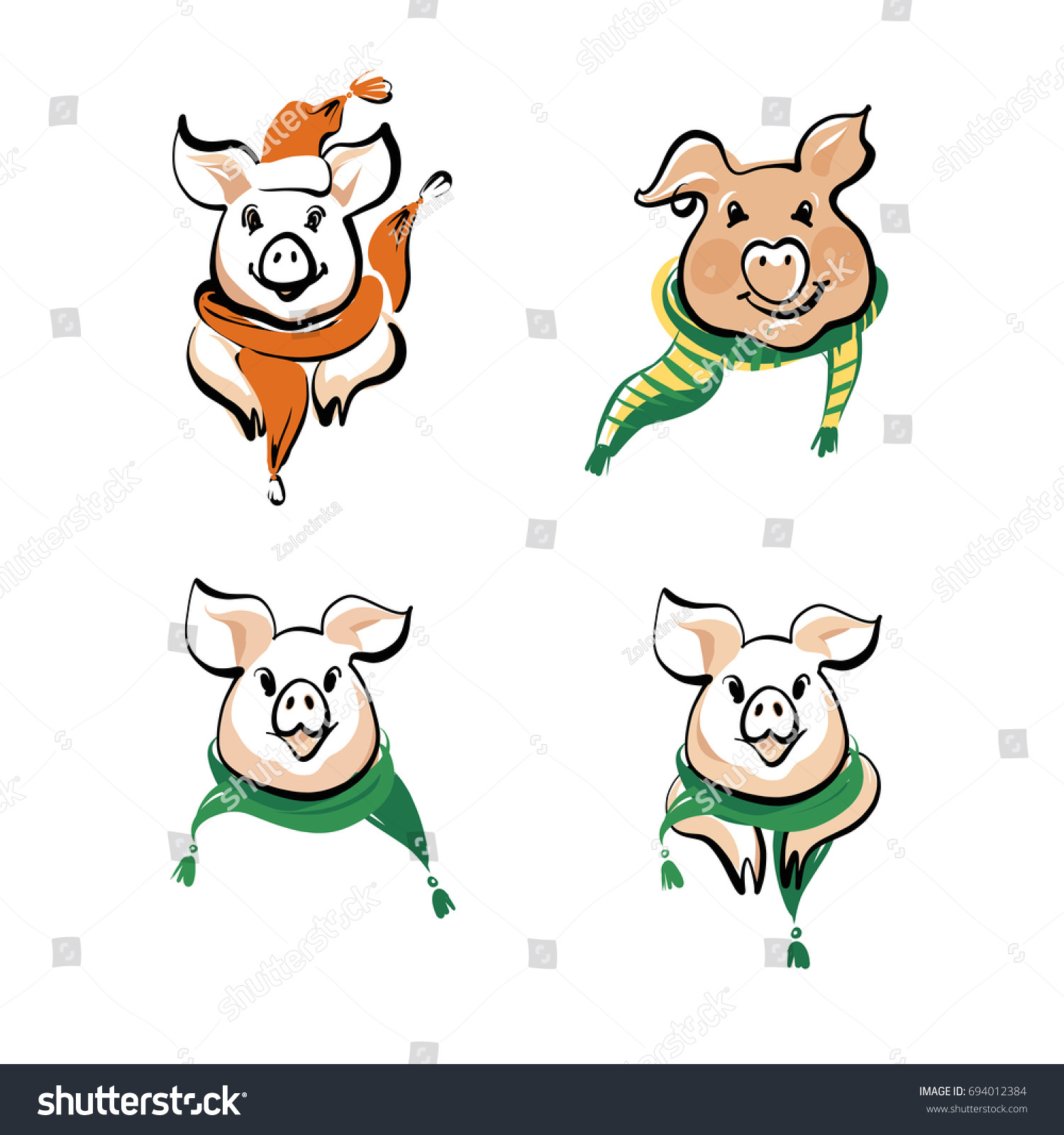 Sketch vector illustration set head face stock vector 694012384 sketch vector illustration set of head face pig in scarf symbol of 2019 buycottarizona Gallery