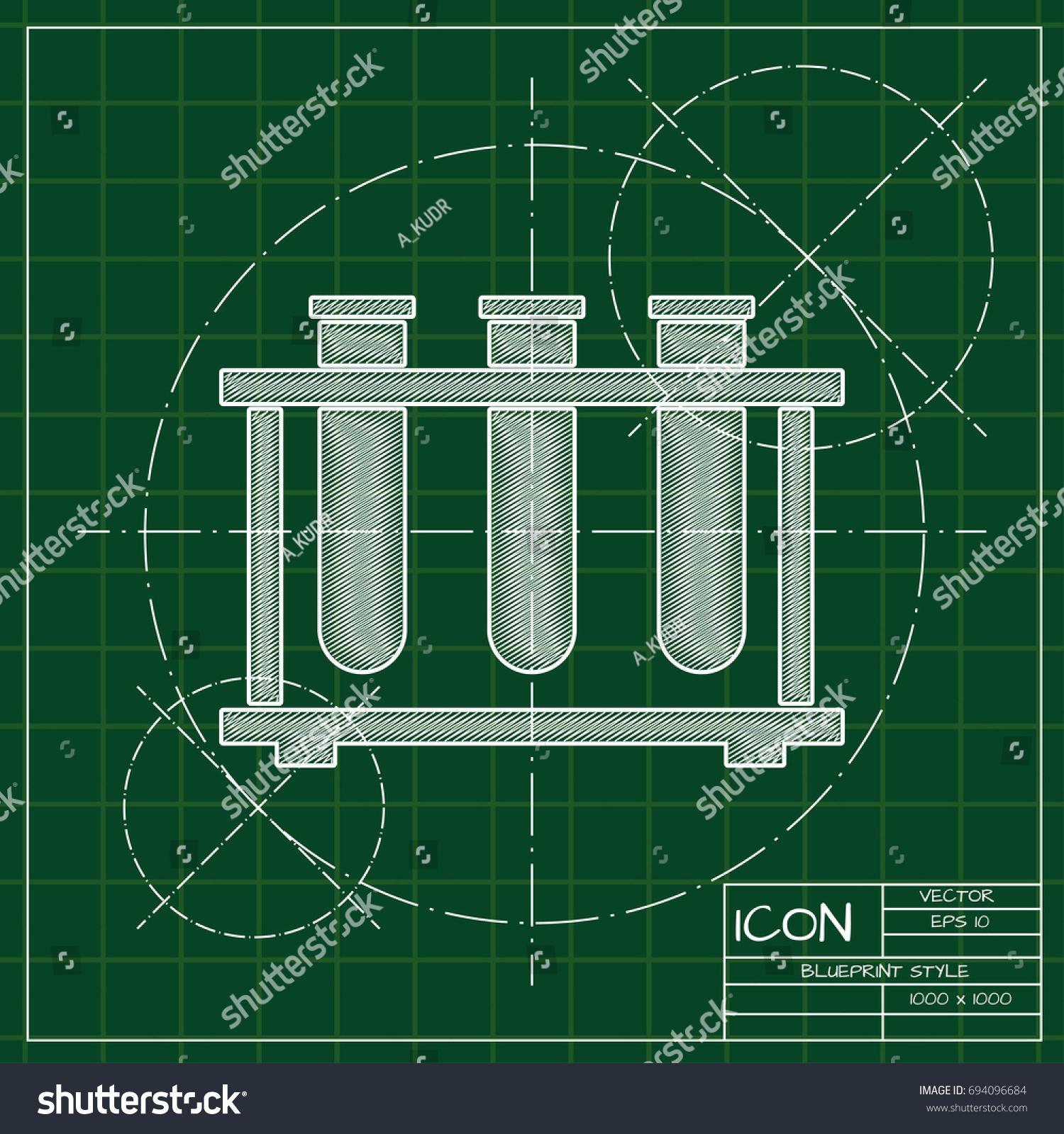 Vector blueprint testtube icon on engineer stock vector 694096684 vector blueprint test tube icon on engineer and architect background malvernweather Images
