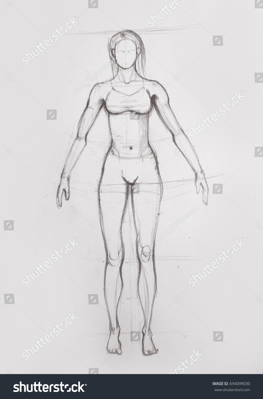 Drawing Illustration Anatomy Girl Seen Front Stock Illustration ...