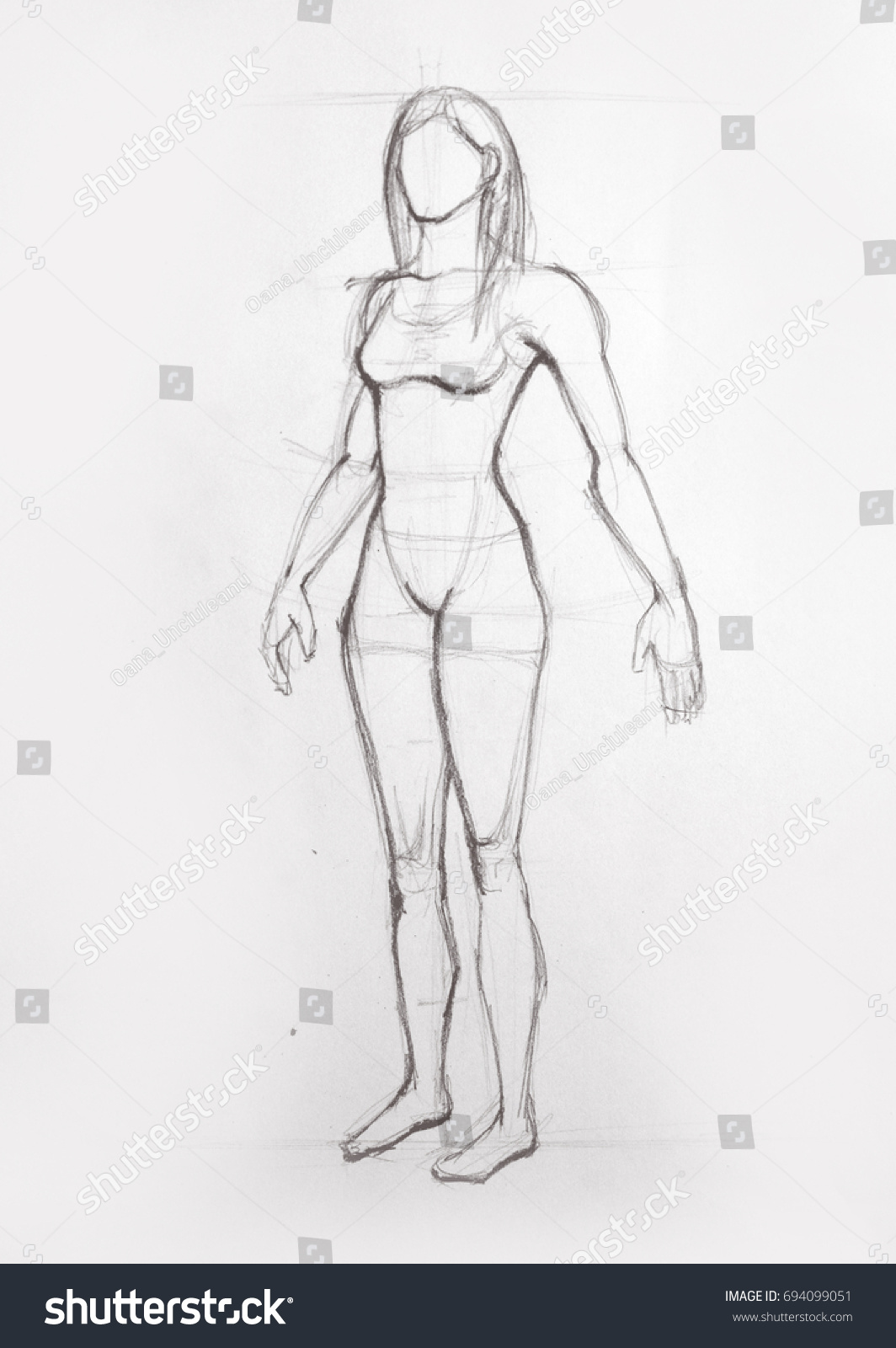 Drawing Illustration Anatomy Girl Seen Side Stock Illustration ...