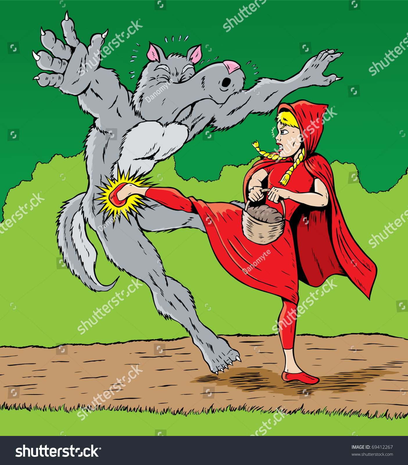 Little red riding hood kicking wolf stock illustration 69412267 little red riding hood kicking the wolf good for self defense buycottarizona