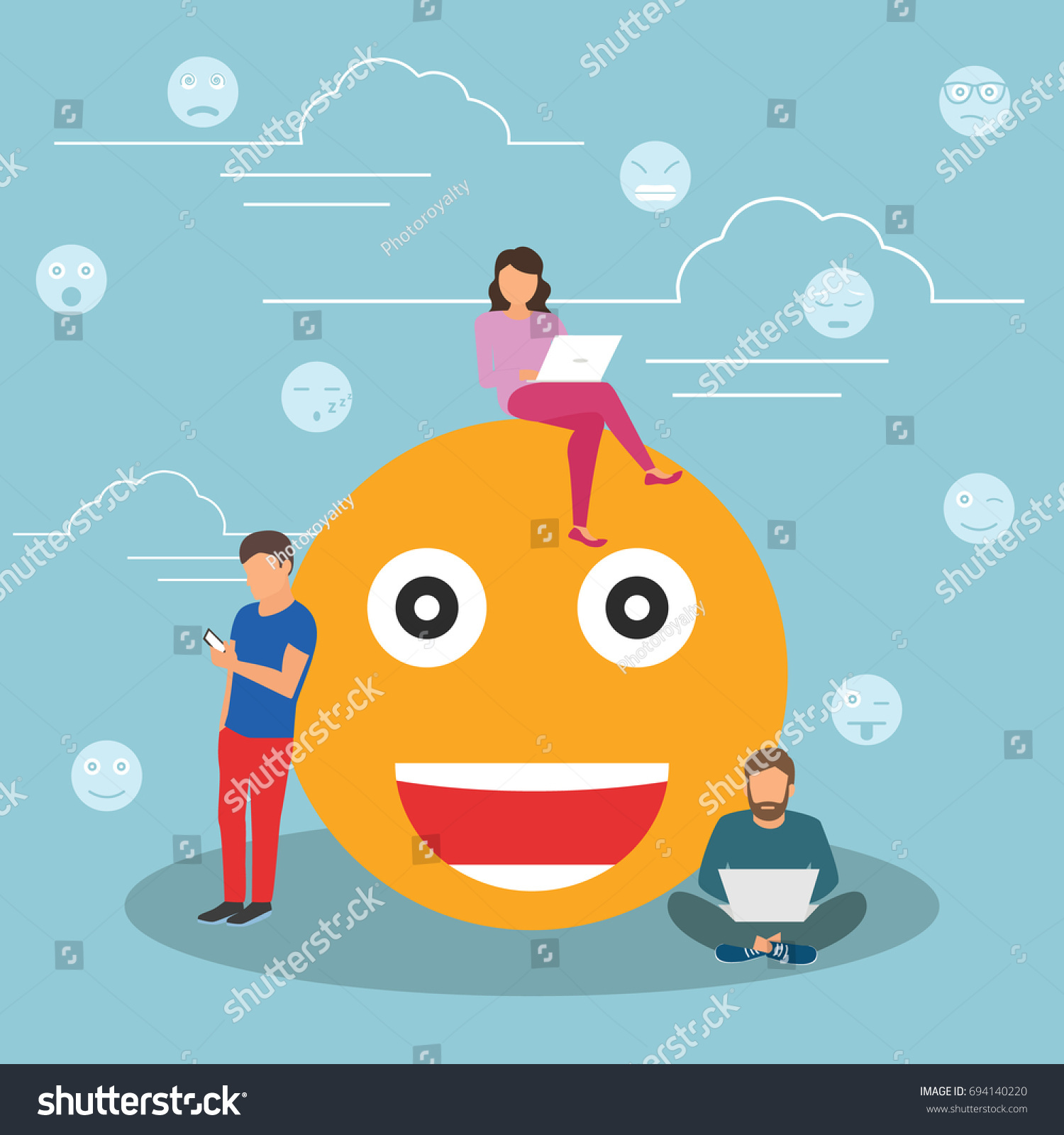 Young men women standing near big stock vector 694140220 young men and women standing near big emoji head symbol and using their smart phones for buycottarizona