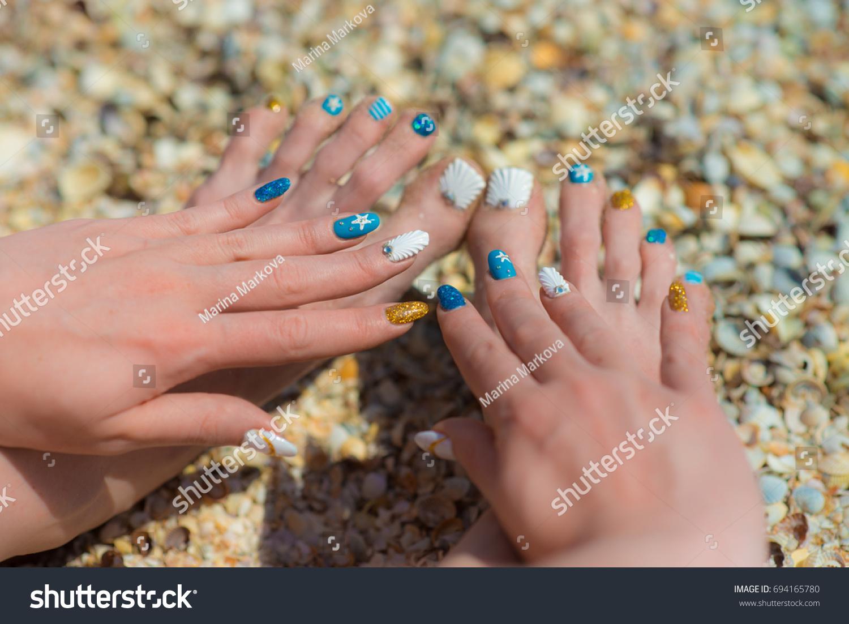 Sea Manicure Pedicure Nail Design Stock Photo Edit Now 694165780