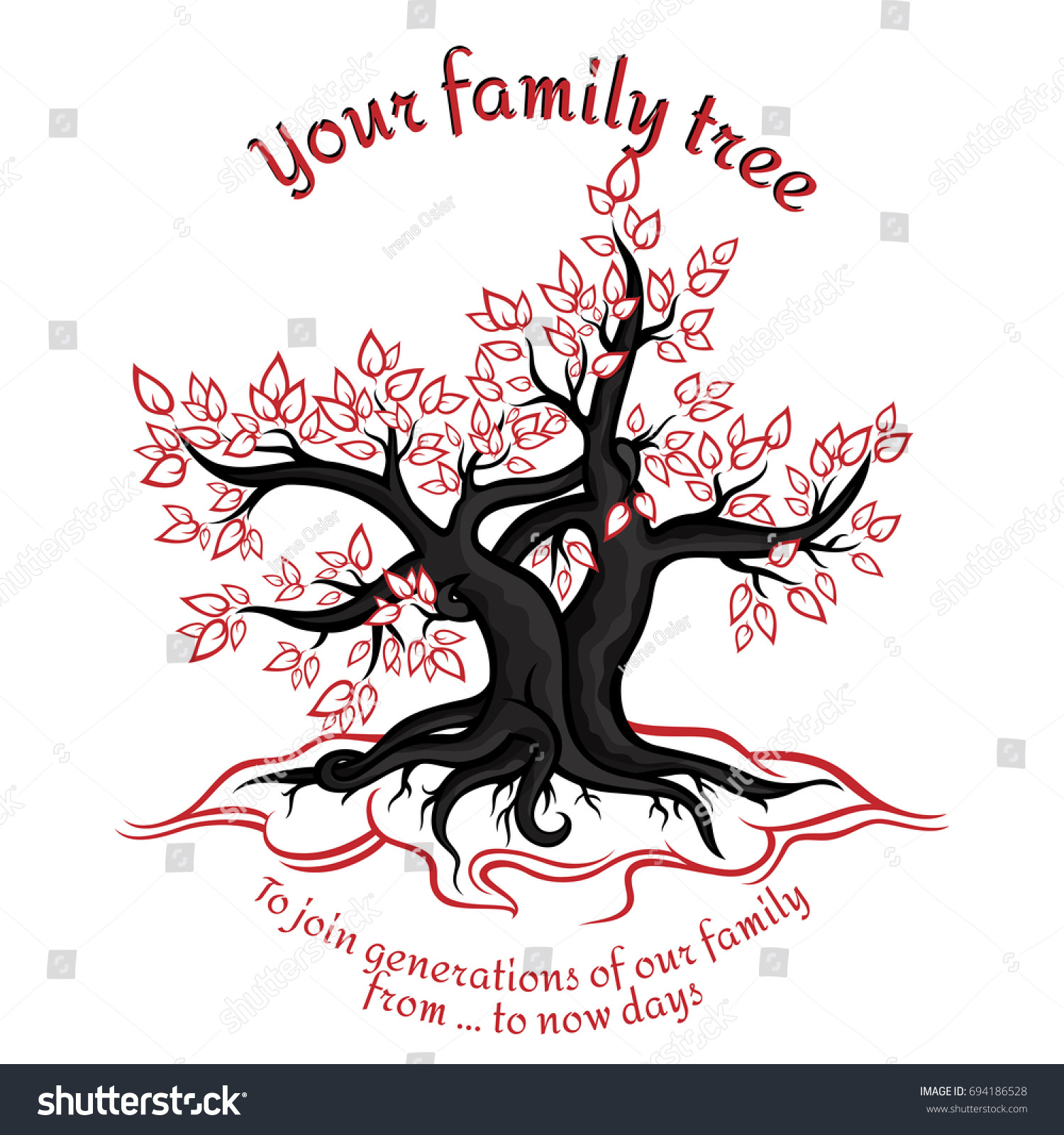 Genealogical Tree Concept Union Generations Red Stock Vector