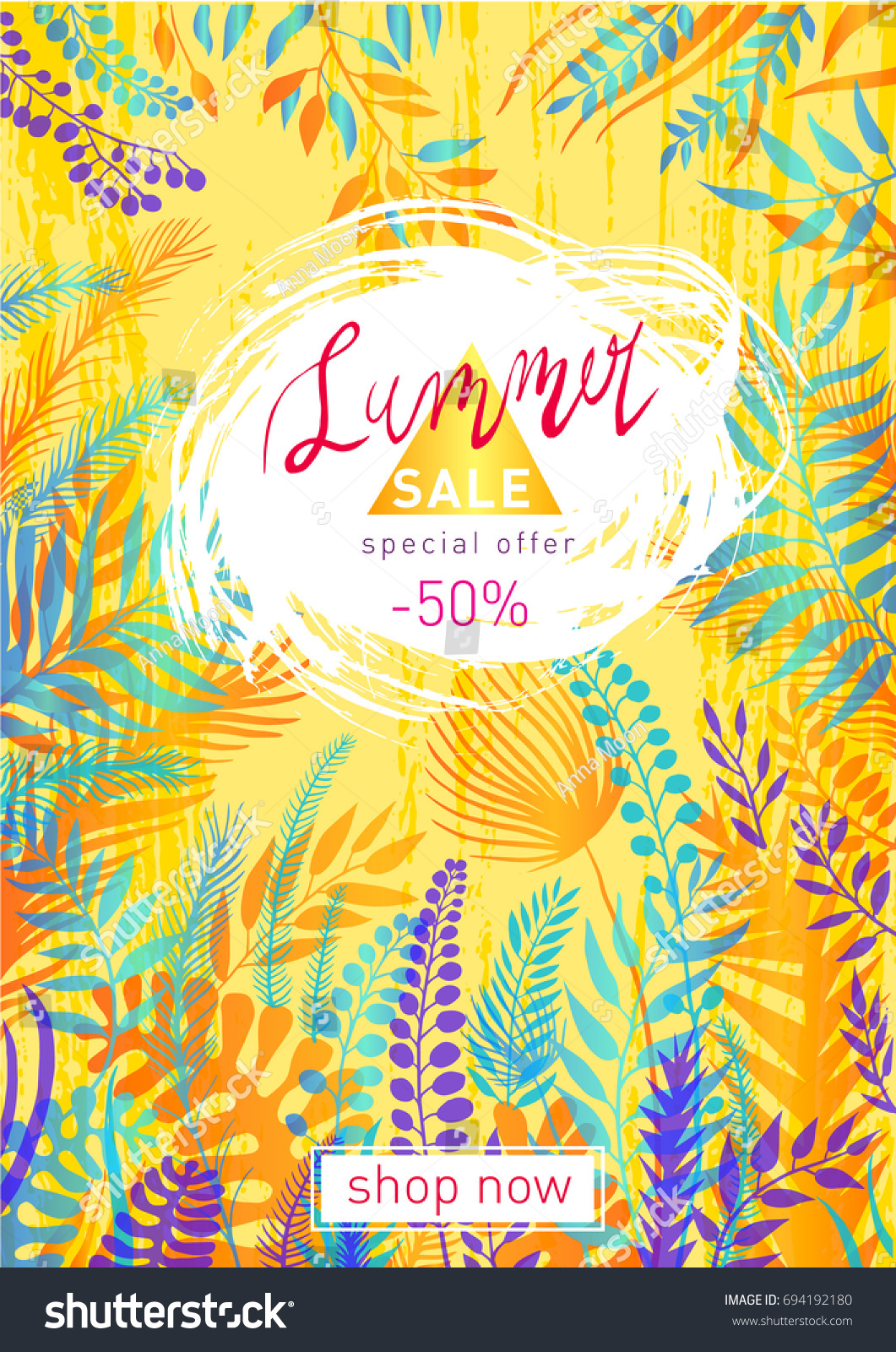summer sale flyer template tropical leaves stock vector royalty