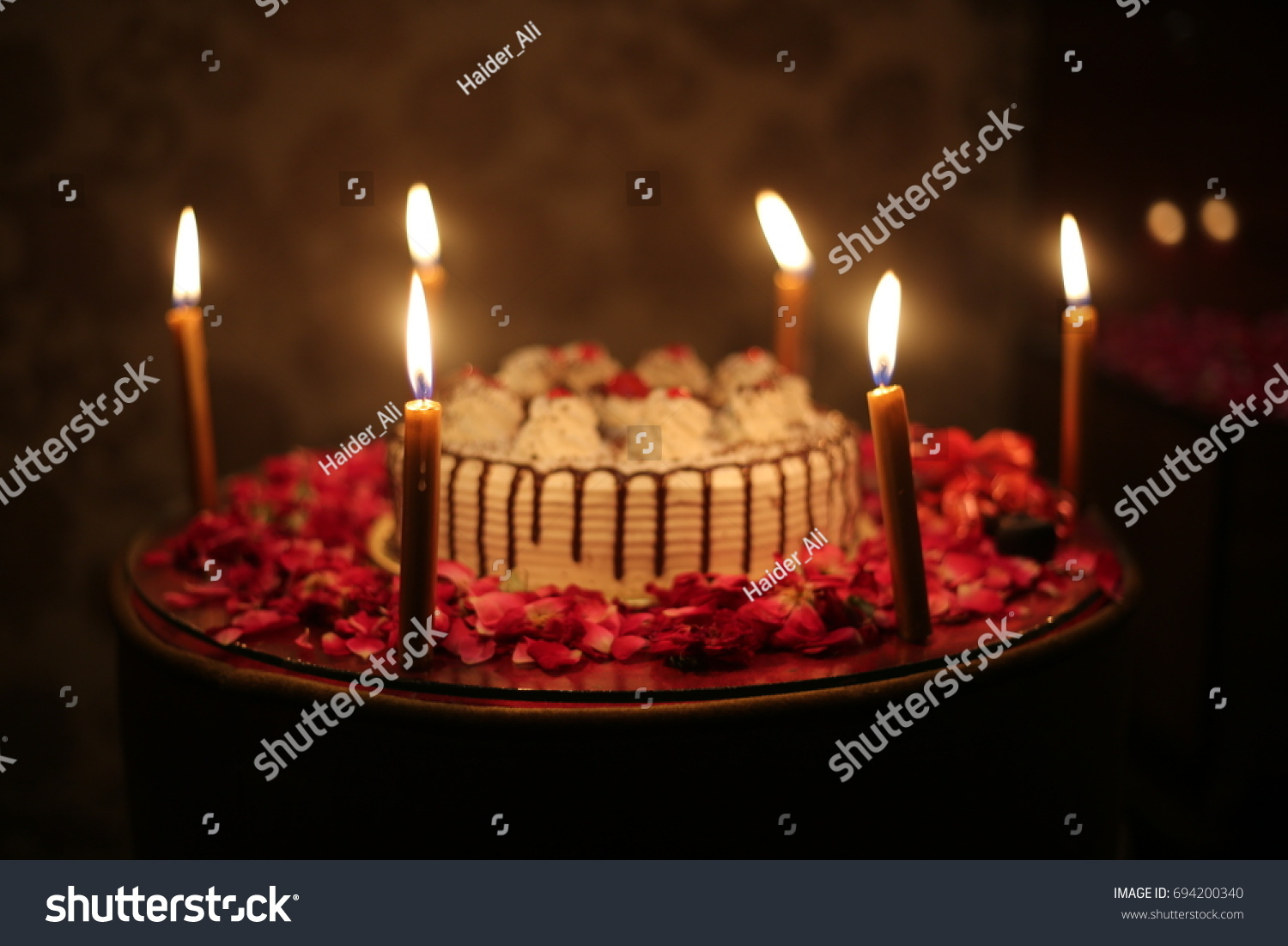 Peachy Happy Birthday Cake Candles Burning Stock Photo Edit Now 694200340 Personalised Birthday Cards Bromeletsinfo