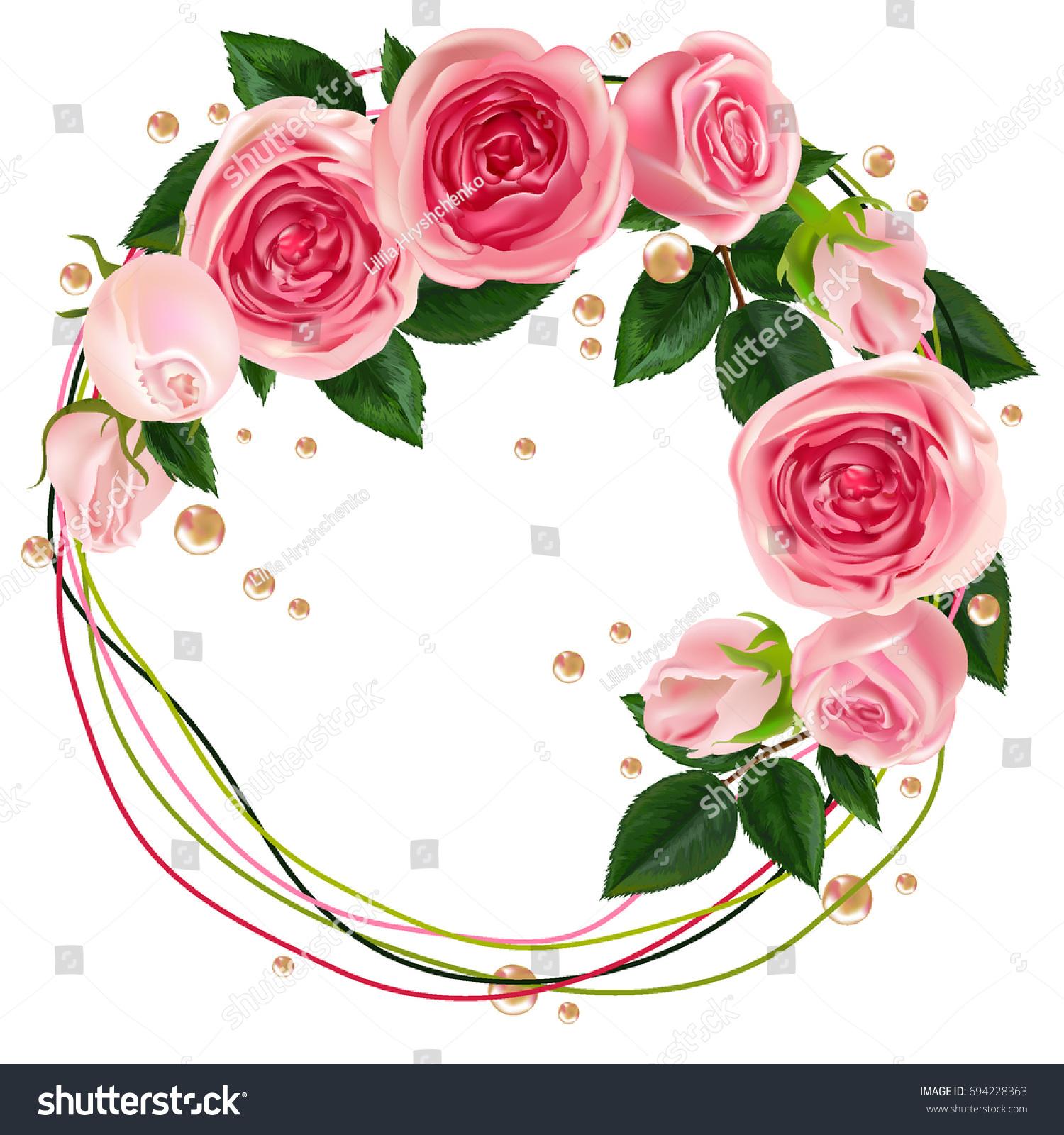 Wreath Pink Rosespearl Trendy Design Template Stock Vector