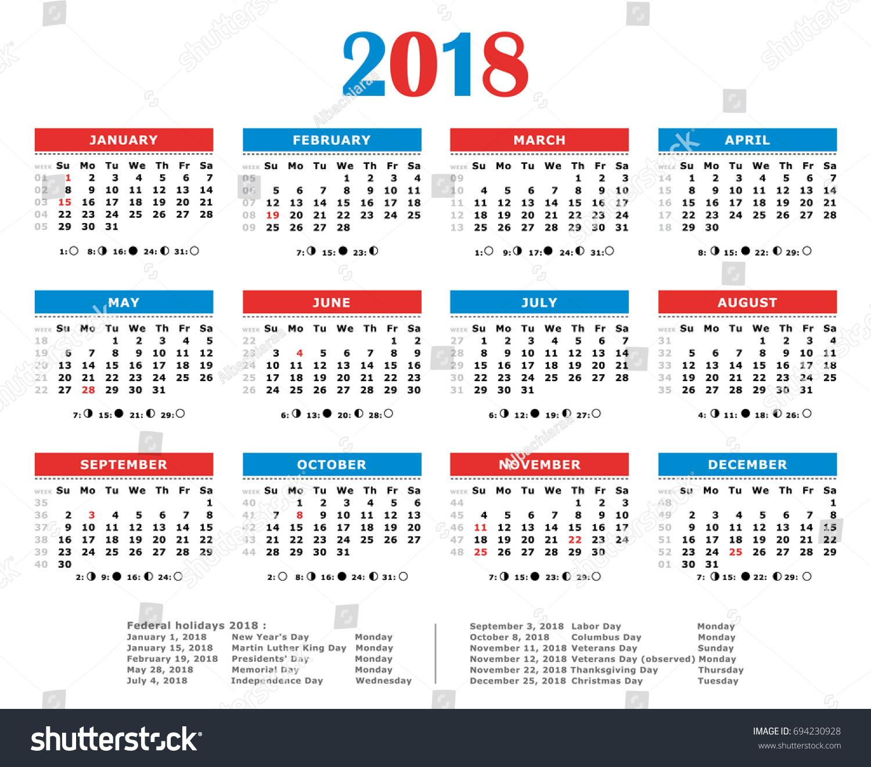 2018 year calendar with holidays
