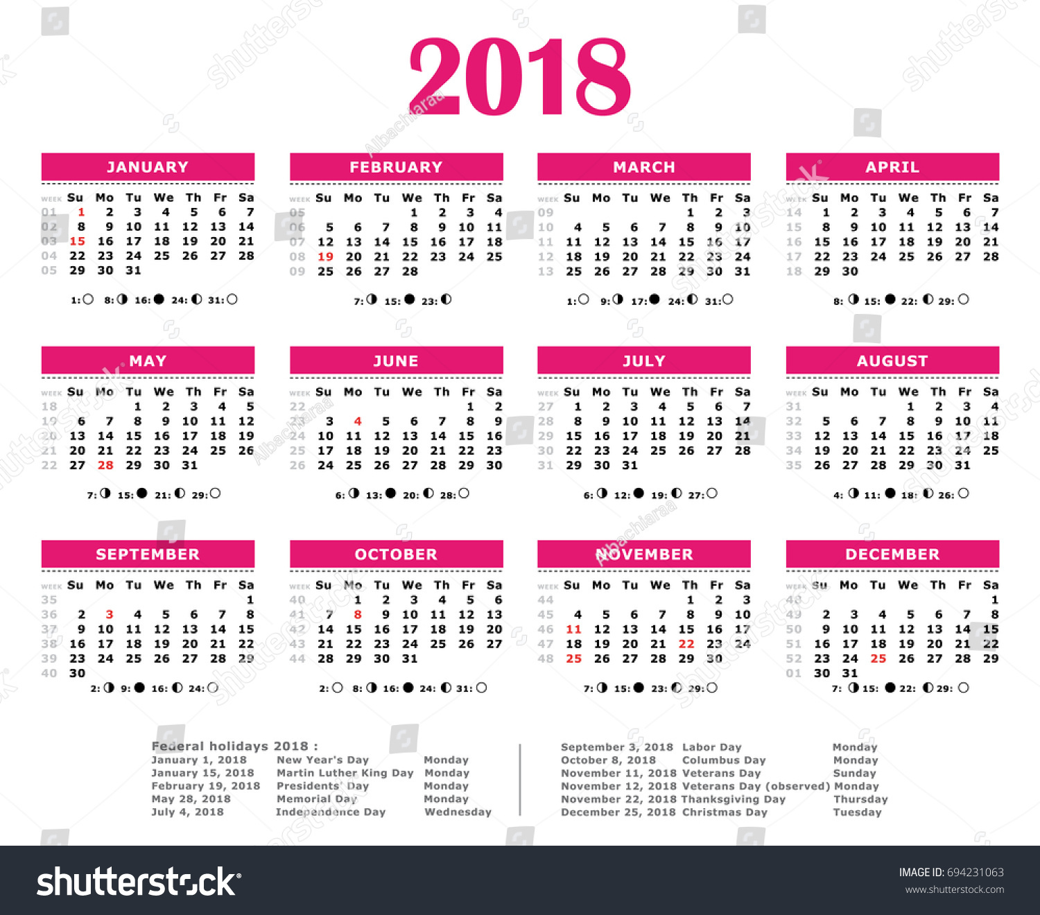 2018 pink yearly calendar federal holidays moon and numbers of weeks