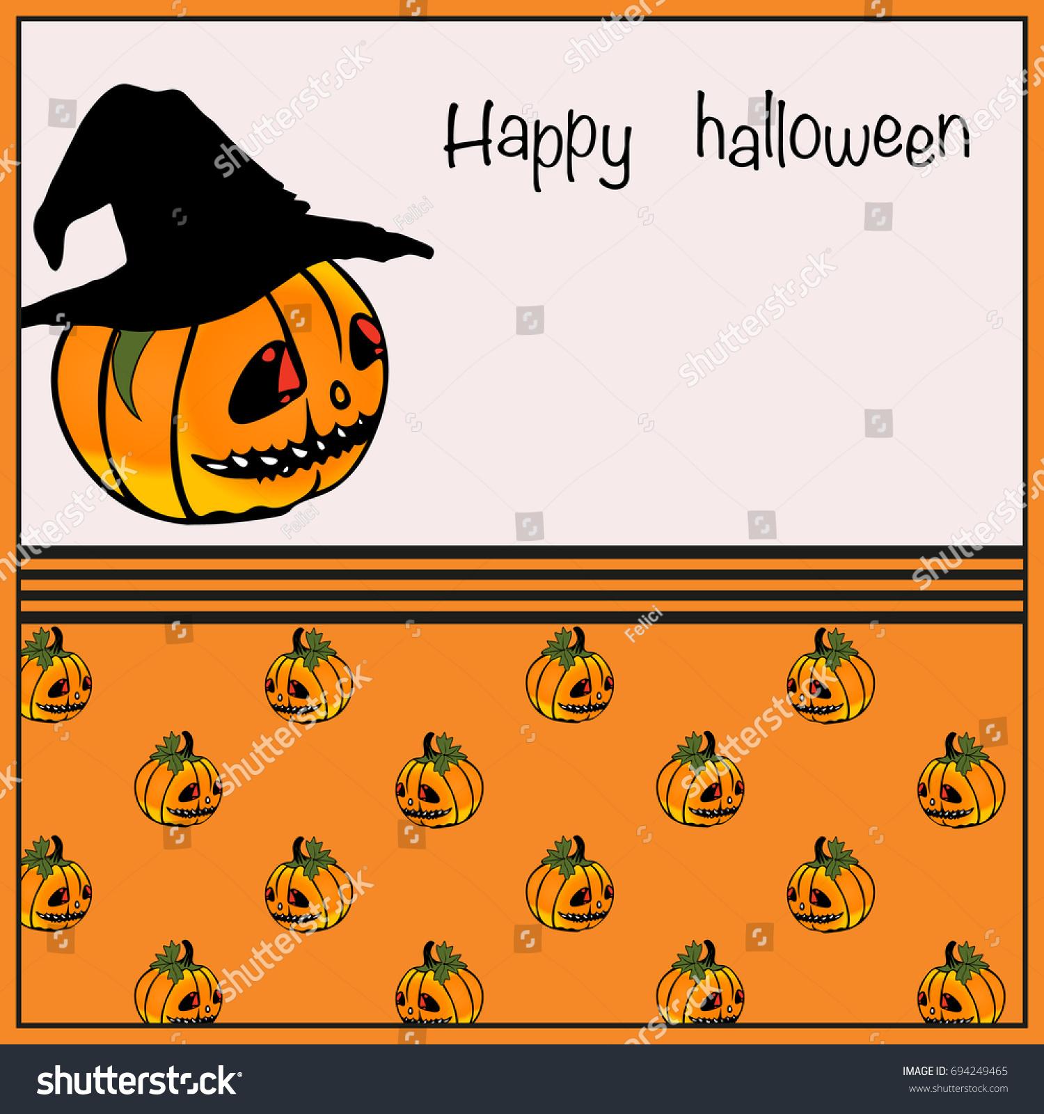 Halloween Party Invitation Card Pumpkin Full Stock Vector 694249465 ...