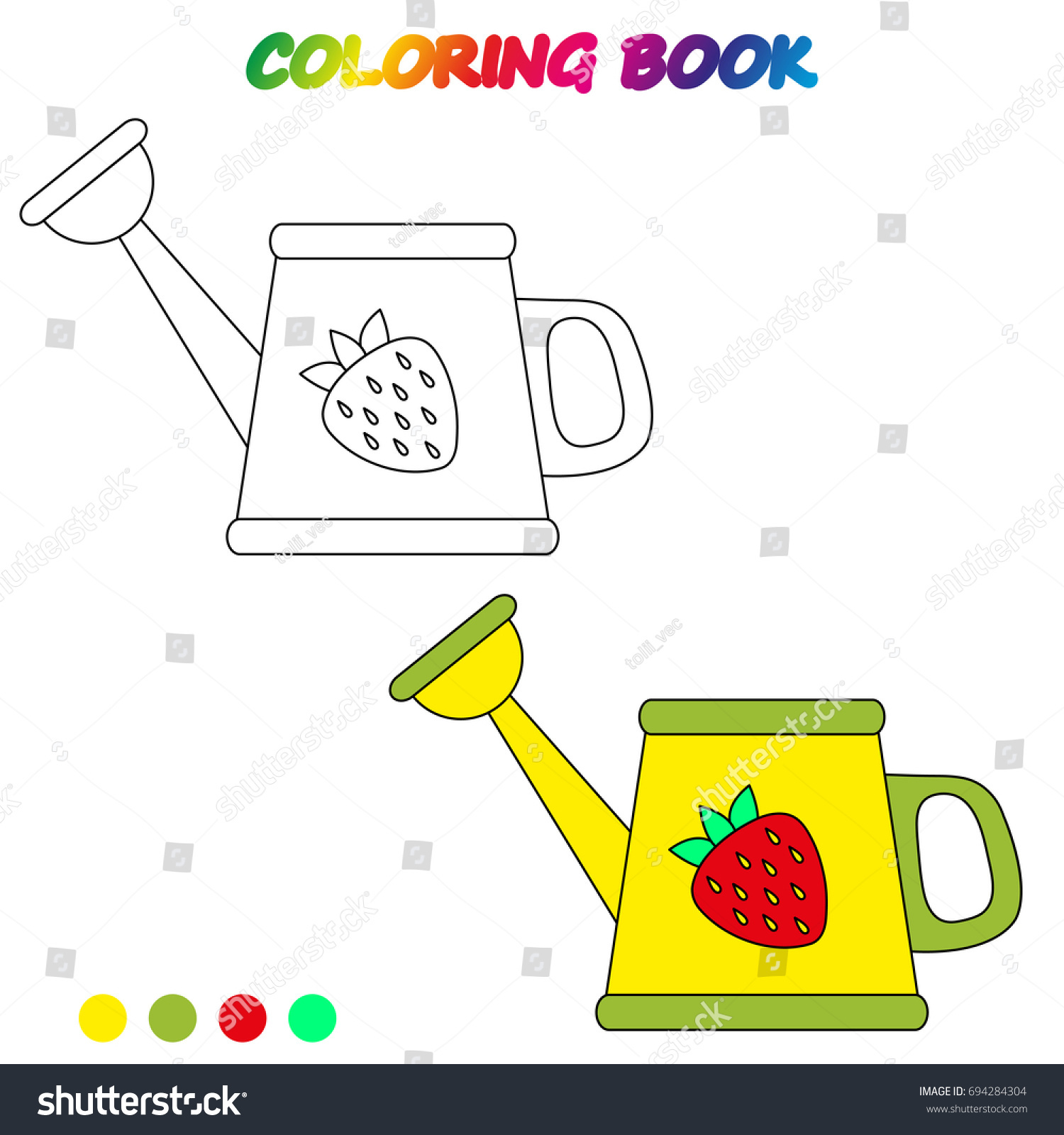 Watering Can Coloring Book Coloring Page Stock Vector (Royalty Free ...