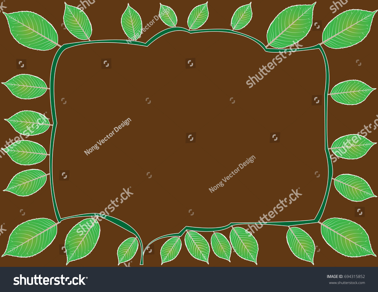 Leaves Branches Frame On Brown Background Stock Vector 694315852 ...