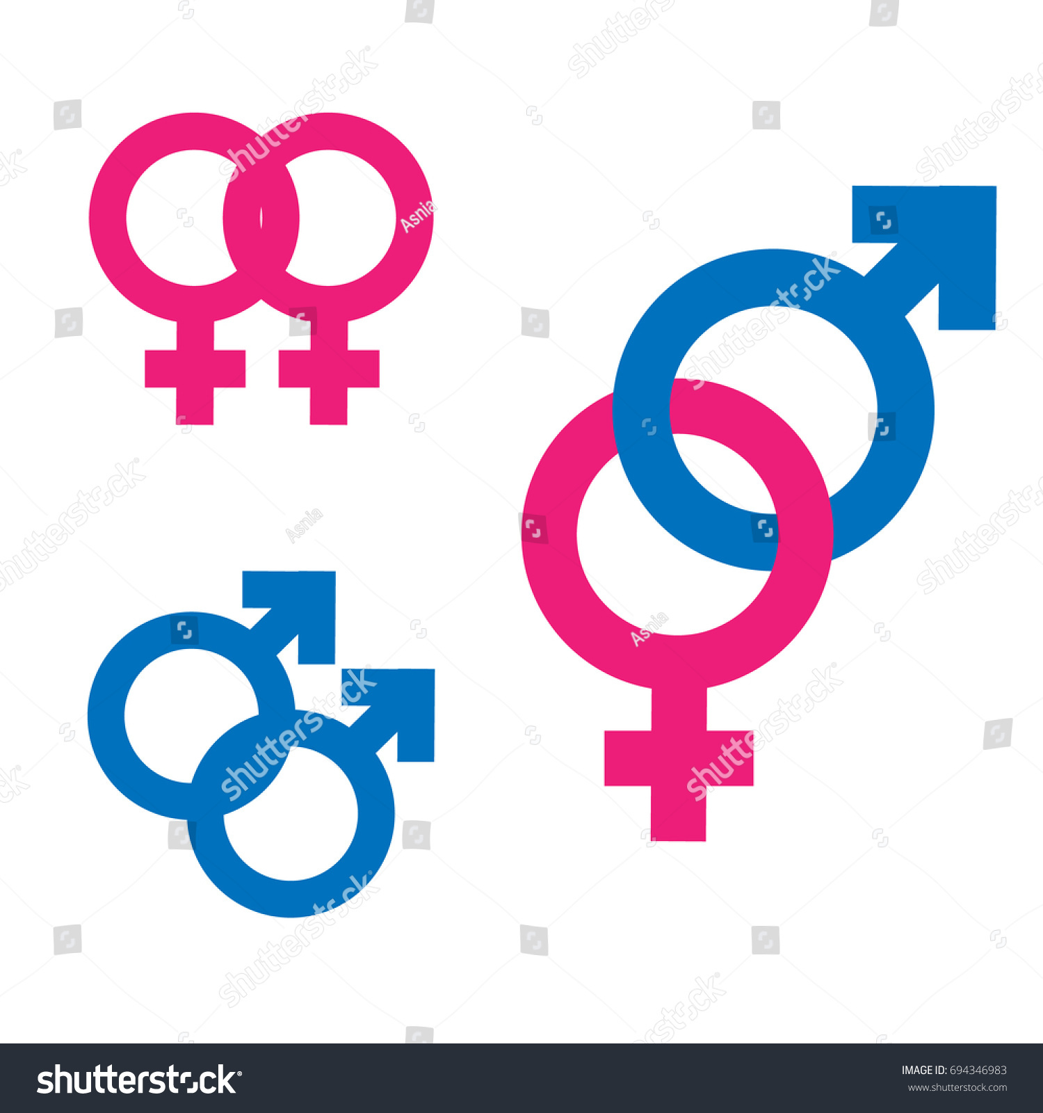 Gender Inequality Equality Icon Symbol Set Stock Illustration