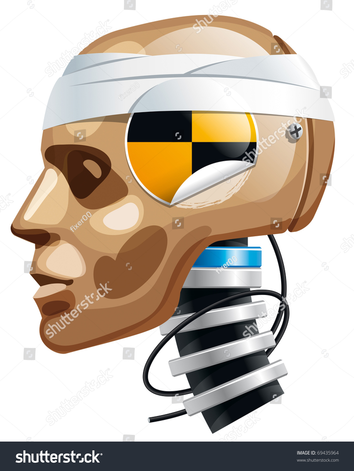 crash test dummy man head vector stock vector 69435964