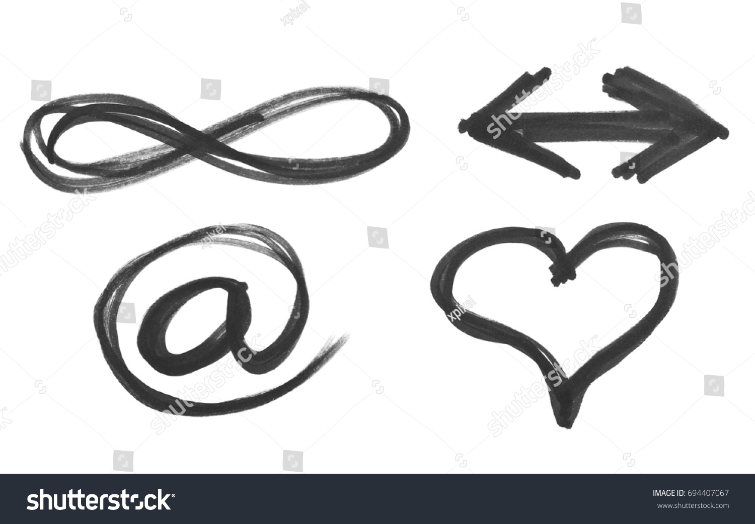 Email heart arrow symbol infinity black stock illustration 694407067 e mail heart arrow and symbol of infinity black marker isolated on buycottarizona Gallery