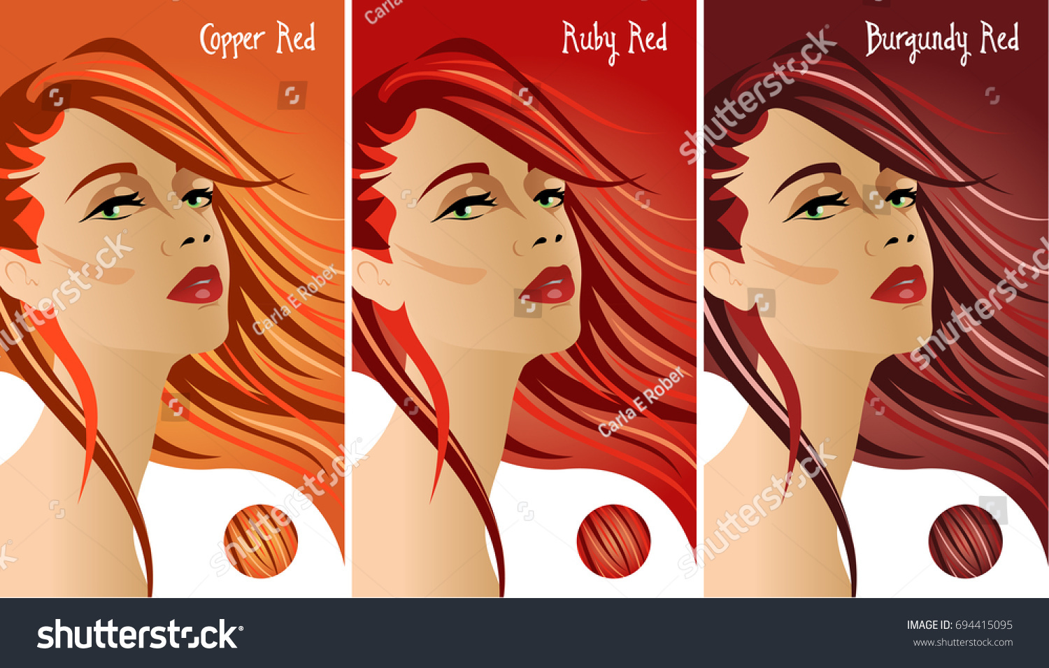 Red Hair Colors Chart Stock Vector Royalty Free 694415095