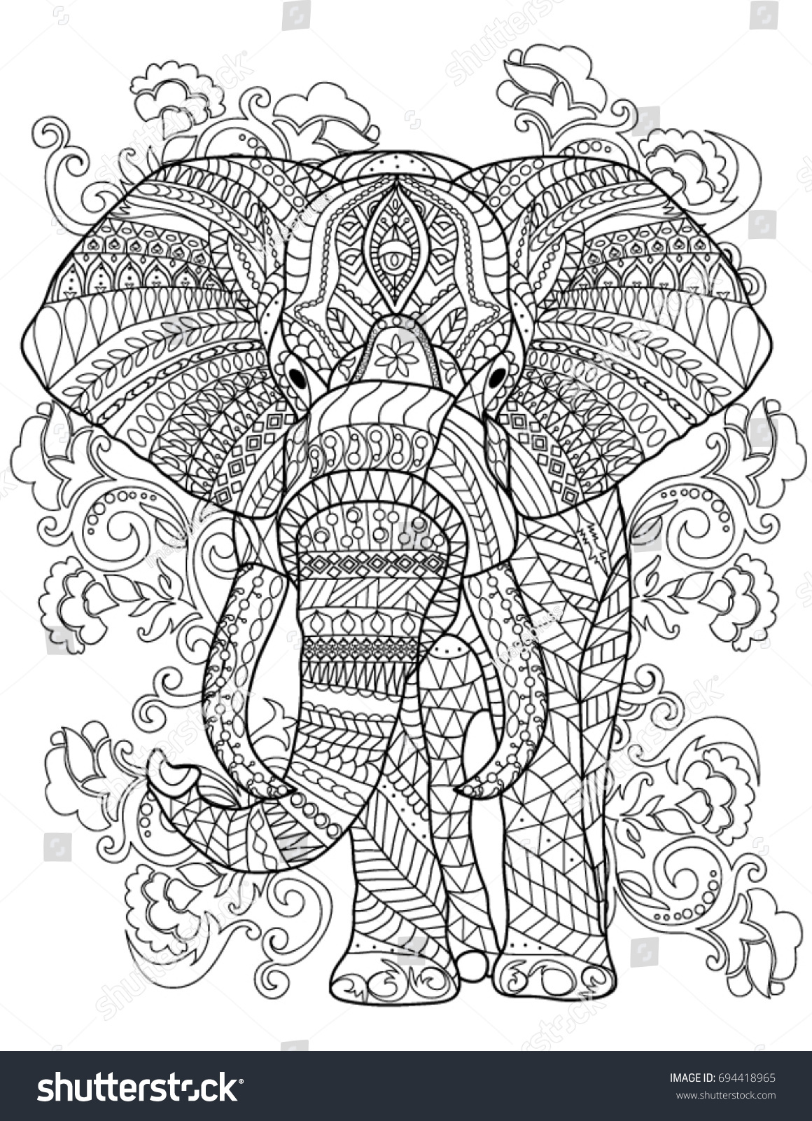Elephant Coloring Book Page Stock Vector 694418965 - Shutterstock