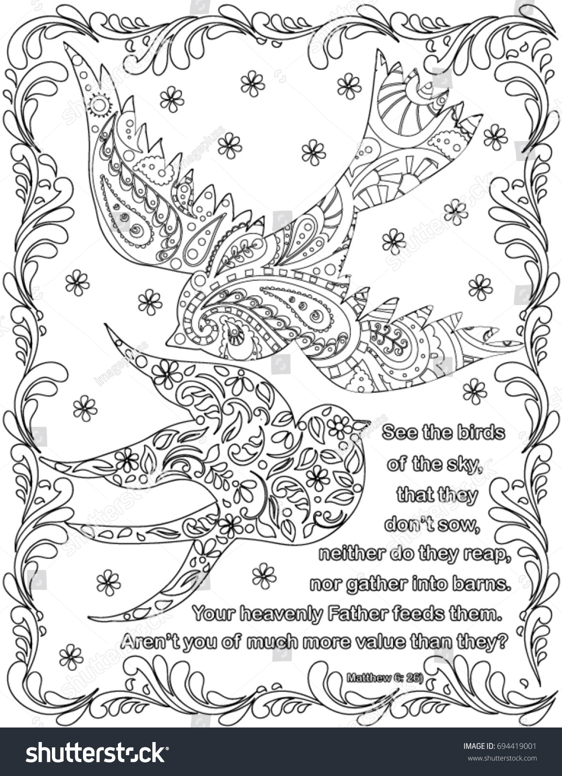 bible verses coloring book page stock vector 694419001 shutterstock