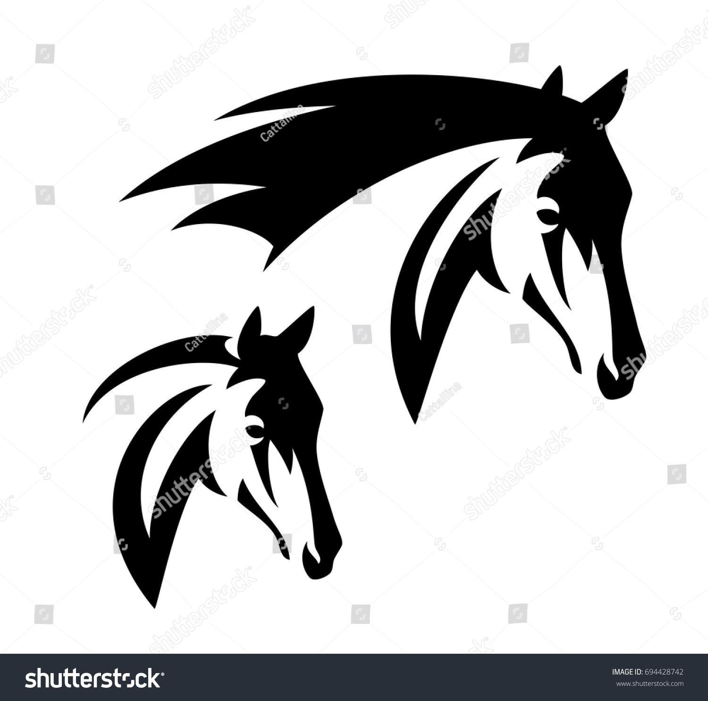 horse head simple black white vector stock vector 694428742