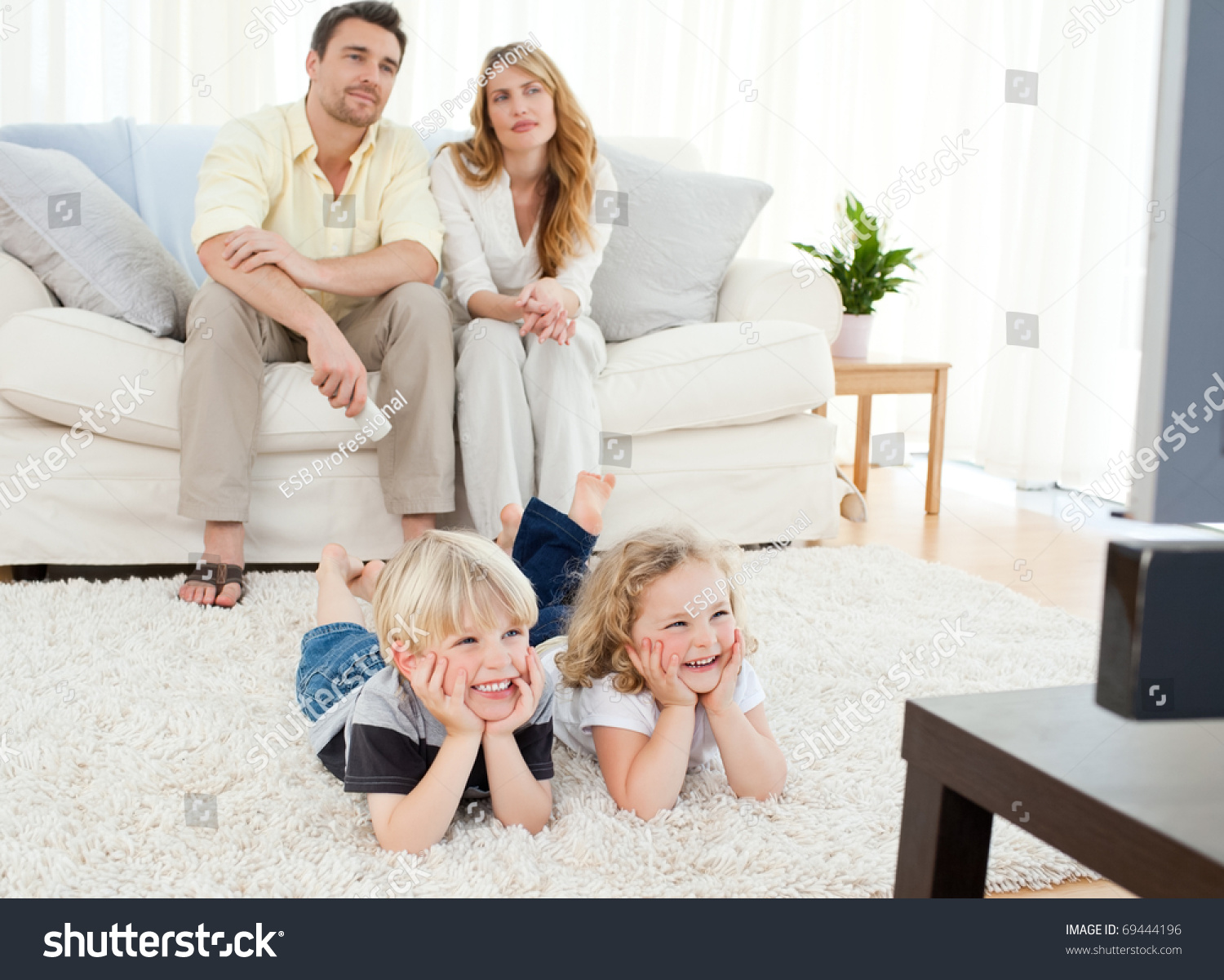 Adorable Family Watching Tv Living Room Stock Photo (Royalty Free ...