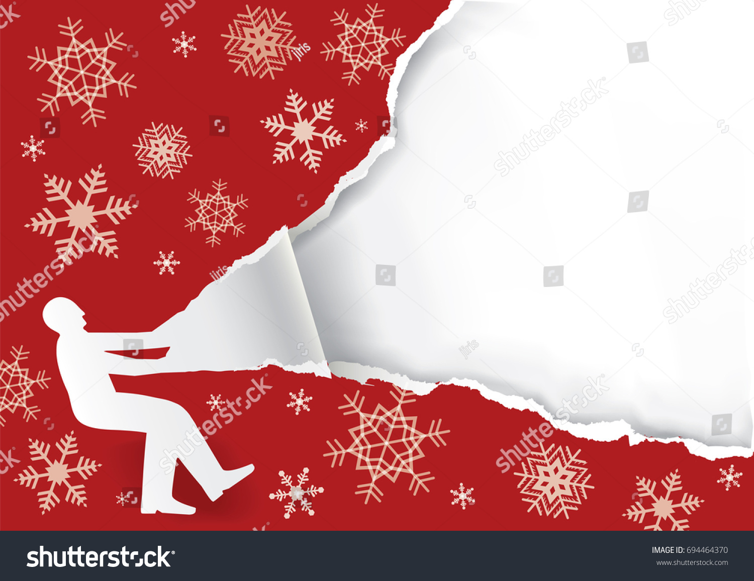 unpacking large christmas gift paper male stock vector 694464370