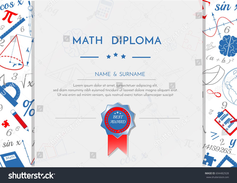 Math diploma certificate award white red stock vector 694482928 math diploma certificate award white red blue xflitez Choice Image